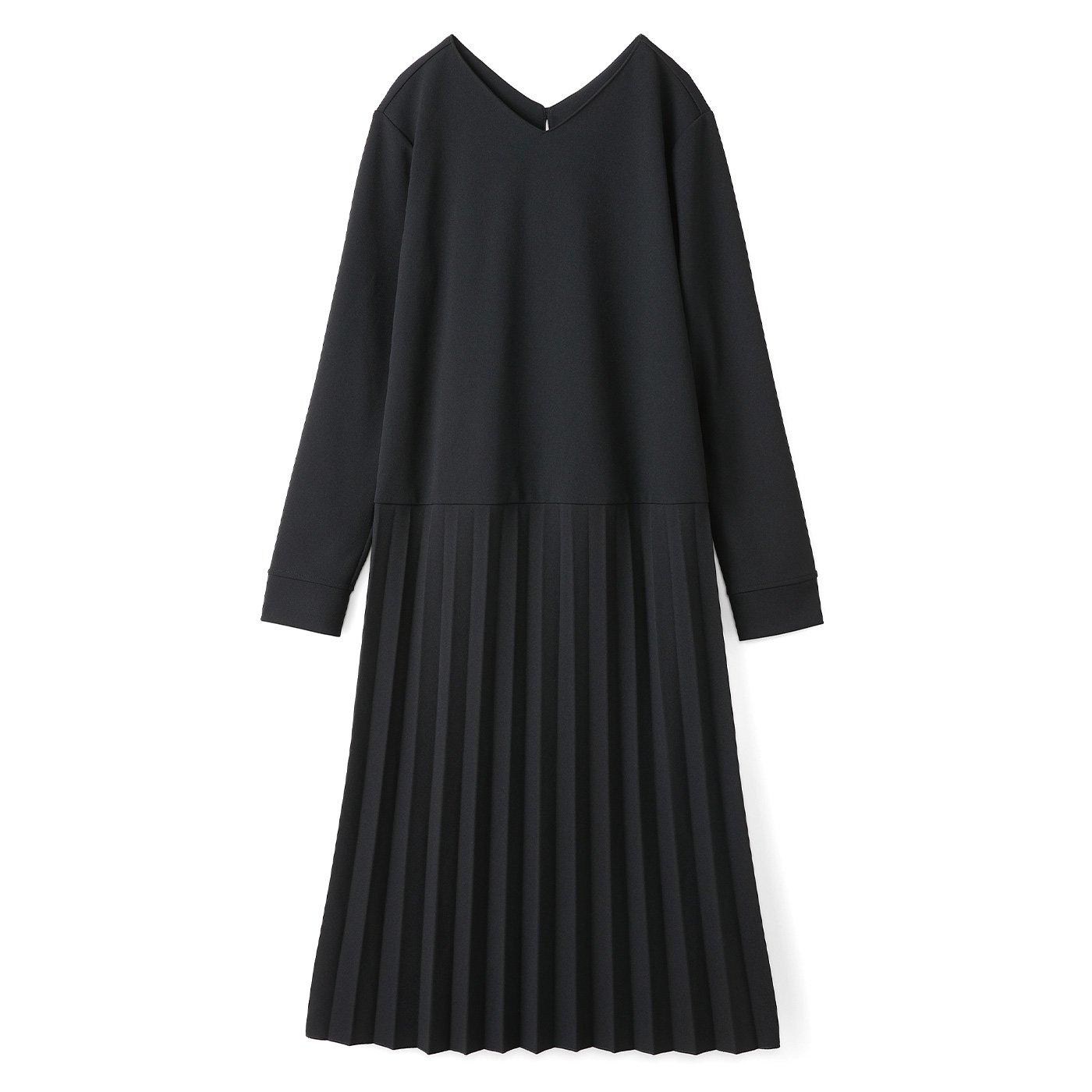 IEDIT[イディット] イージーな着心地で上品スタイルがかなうプリーツ切り替えワンピース〈ブラック〉