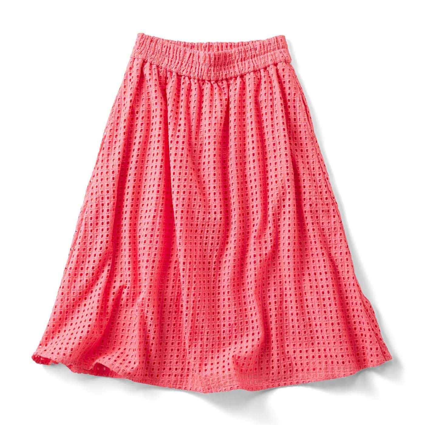 ヴィヴィッドカラーのアイレットスカート〈ピンク〉