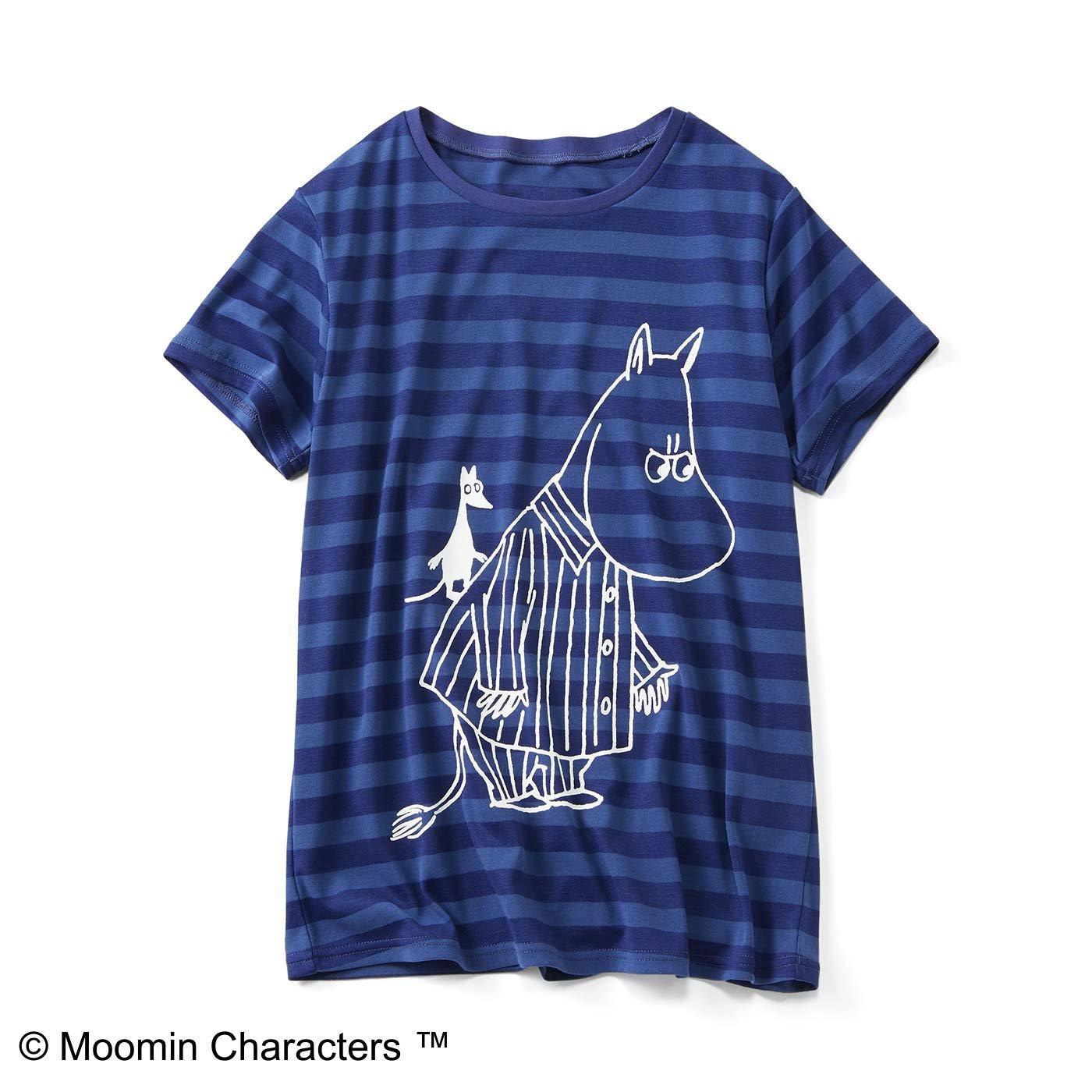ムーミンと仲間たち 吸水速乾ボーダーTシャツ〈ブルー〉