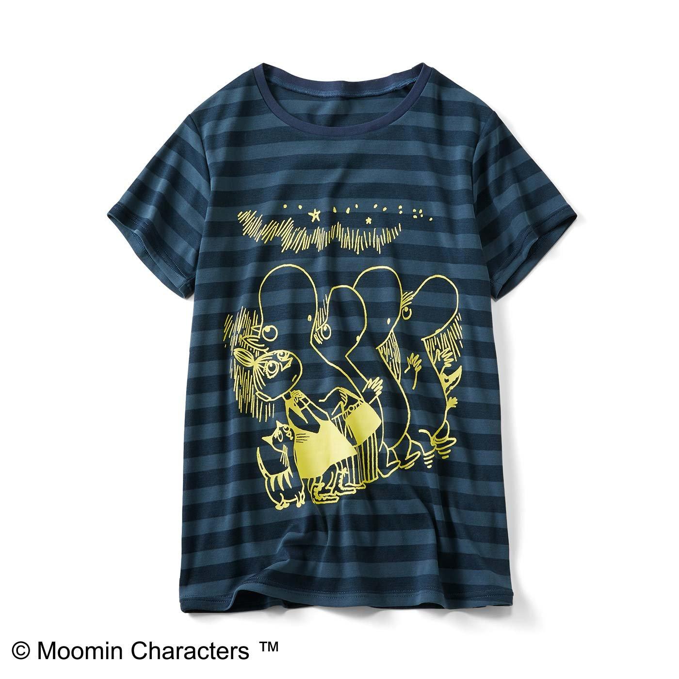 ムーミンと仲間たち 吸水速乾ボーダーTシャツ〈グリーン〉