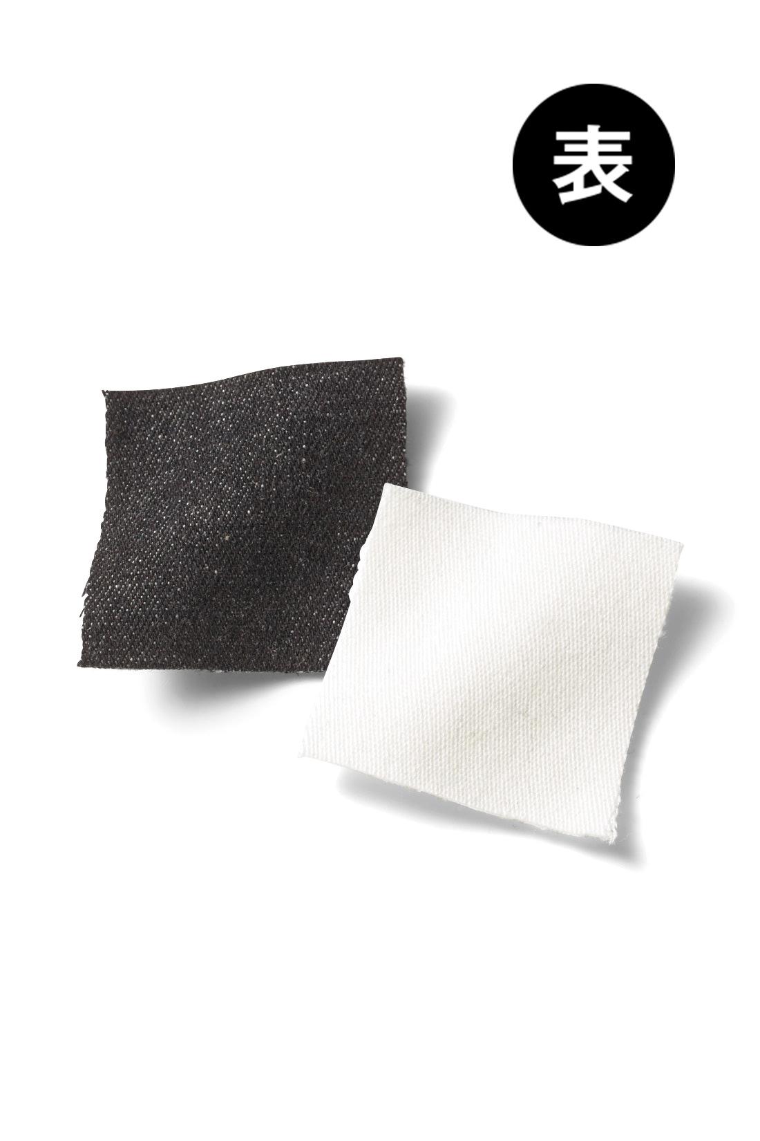 きれい見せのひみつはボンディング加工 裏ベロアに張り合わせた表地は、リジットライクなブラックデニム素材とオフホワイトのきれいめツイル素材の2タイプ。あったかパンツに見えない、スタイリッシュさが大人の女性にうれしいポイント。