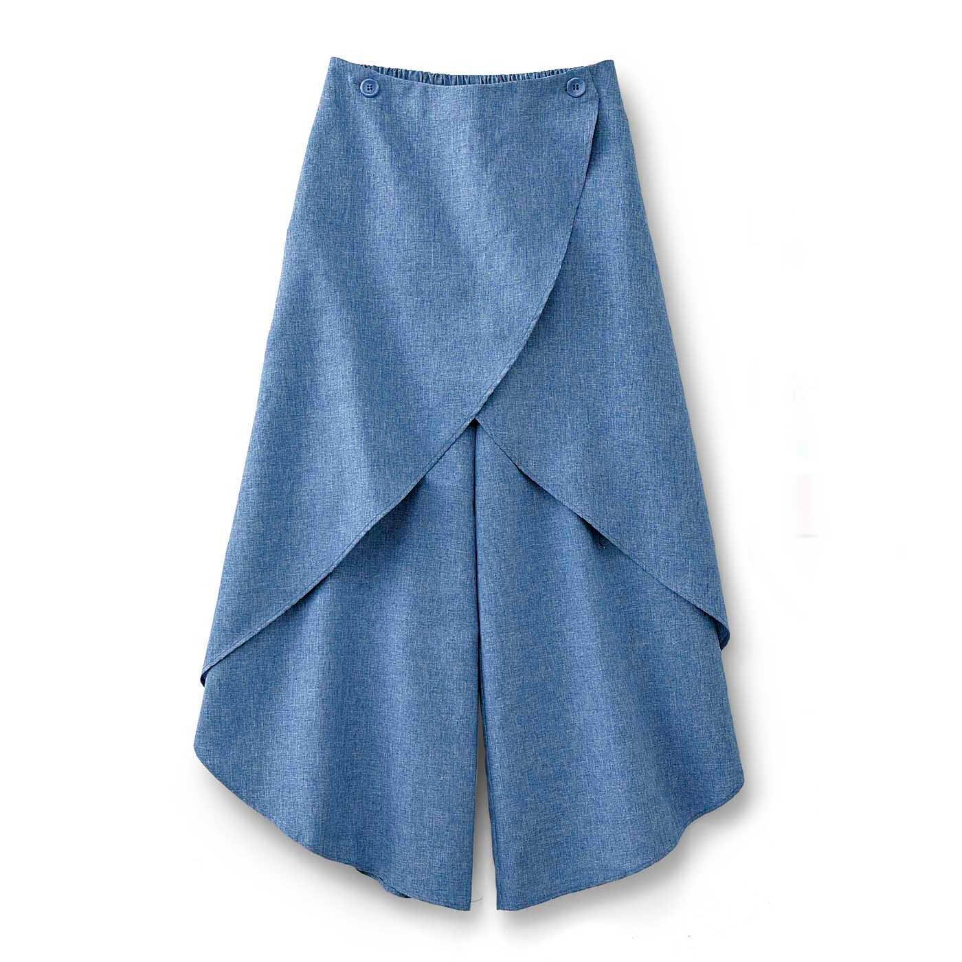 フラウグラット 風を通して腰まわり隠す 2-WAYラップスカート風パンツ〈サックス〉