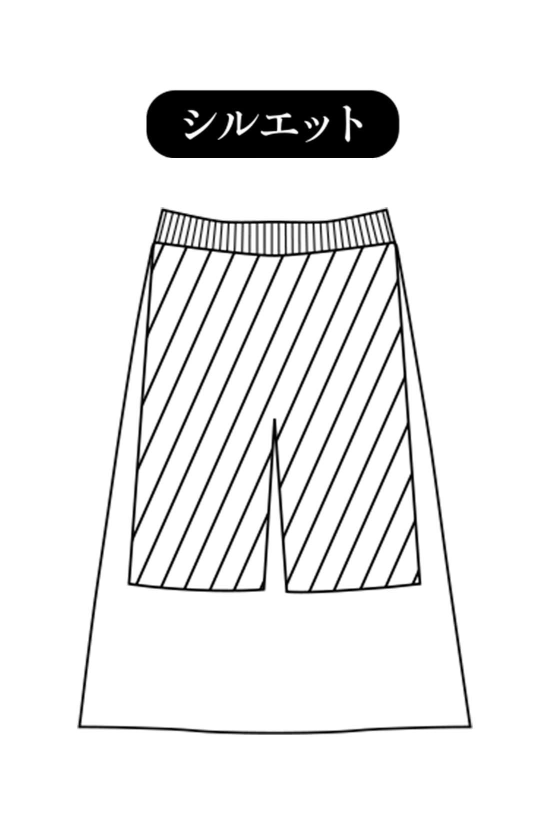 体形カバーをかなえるAライン 上品なミディ丈で座ったときにもひざが出なくてはきやすい、大人好みのほどよいフレアー。ドッキング仕立てのインナーパンツが腰まわりをやさしく包む、暖か仕様です。