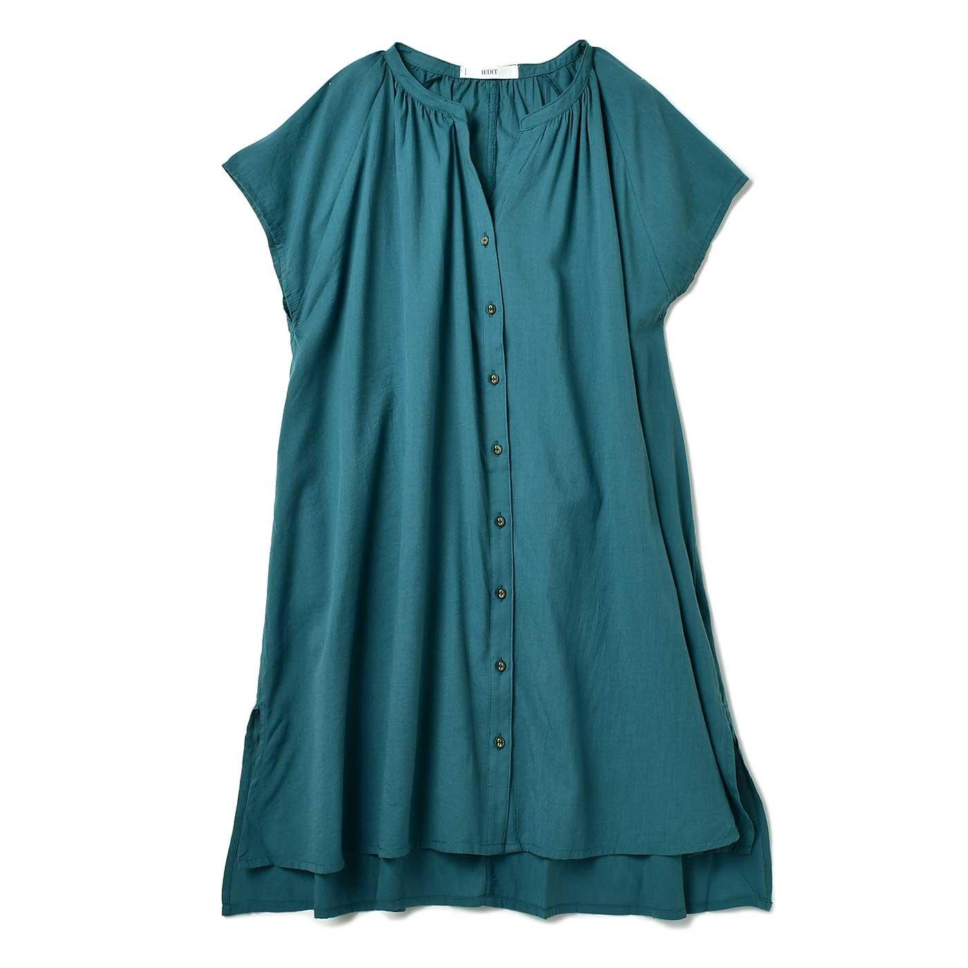 IEDIT[イディット] ギャザーシャツチュニック〈グリーン〉