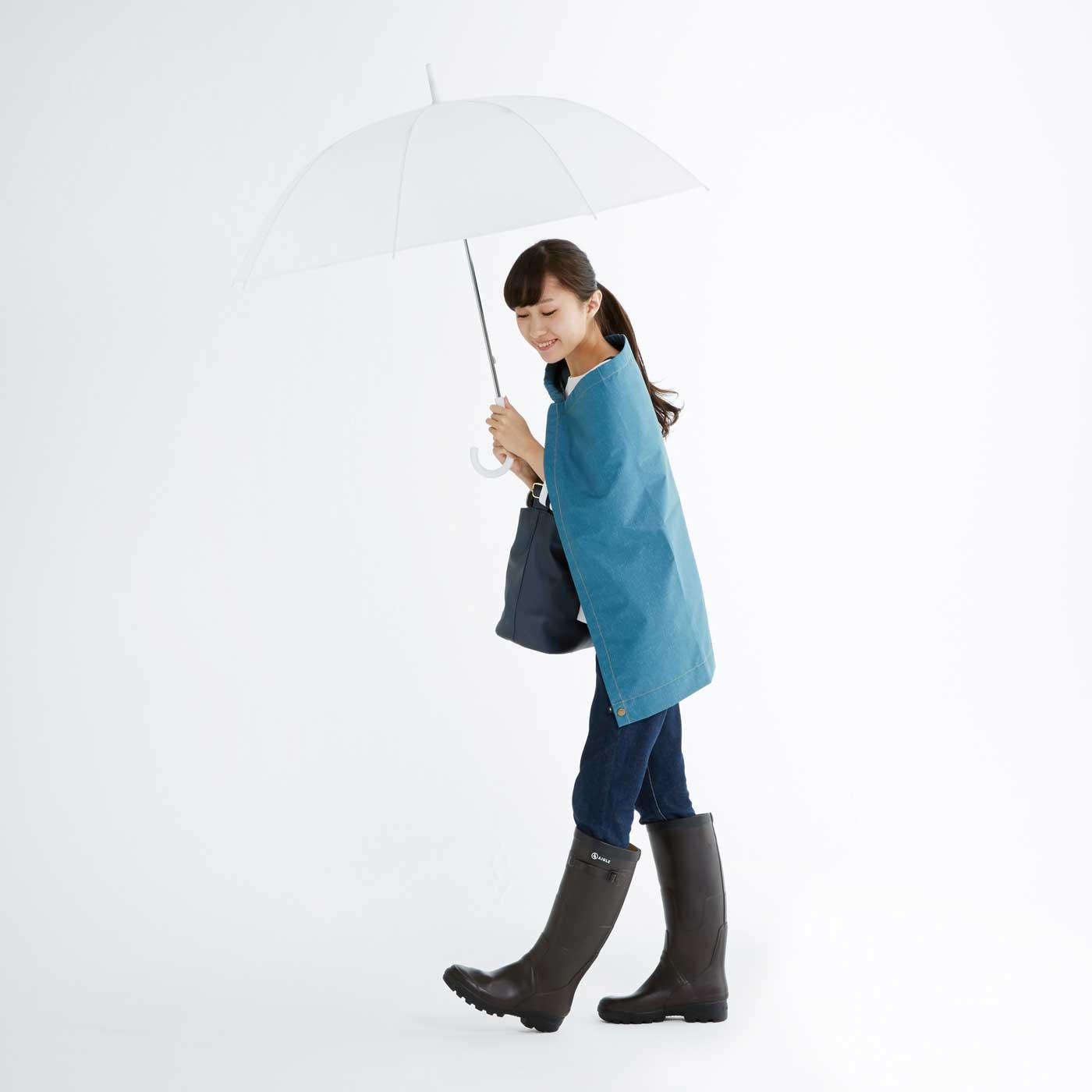 (1)ボレロ風にして、荷物を前にして背中を守る。
