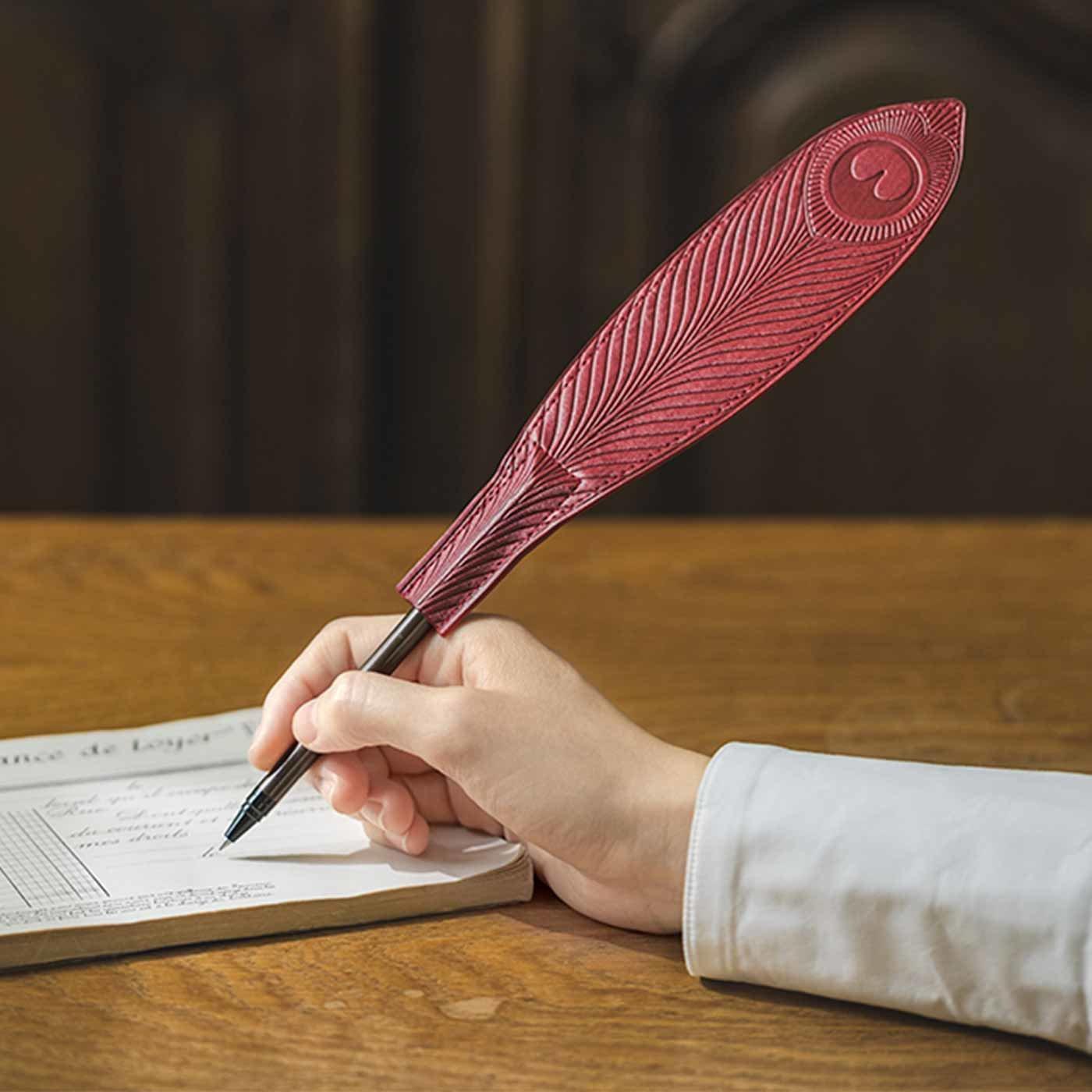 ペンやえんぴつが華麗に変身 孔雀明王羽根ペン風キャップの会