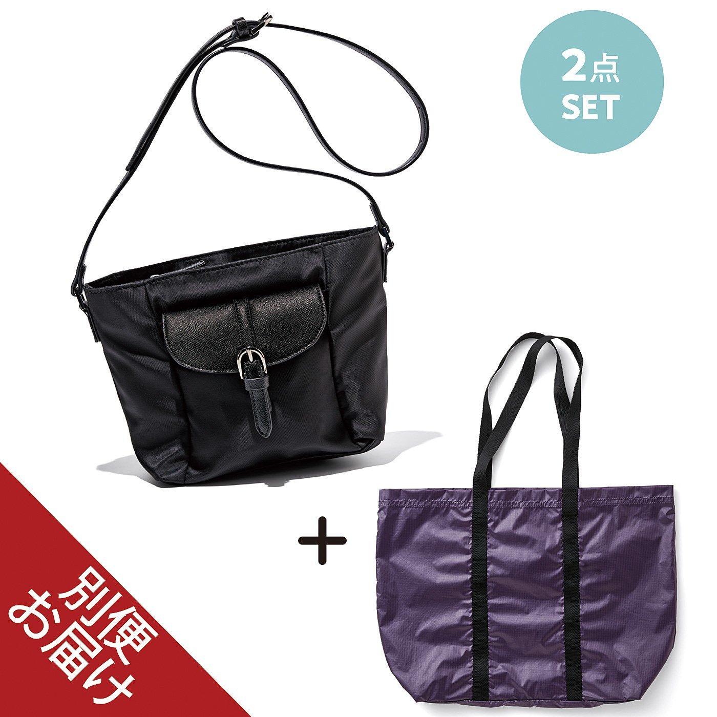 牧野紗弥さん×IEDIT[イディット] 大容量の軽やかサブバッグ付きで 荷物が増えても安心 きれいめポシェット〈ブラック〉