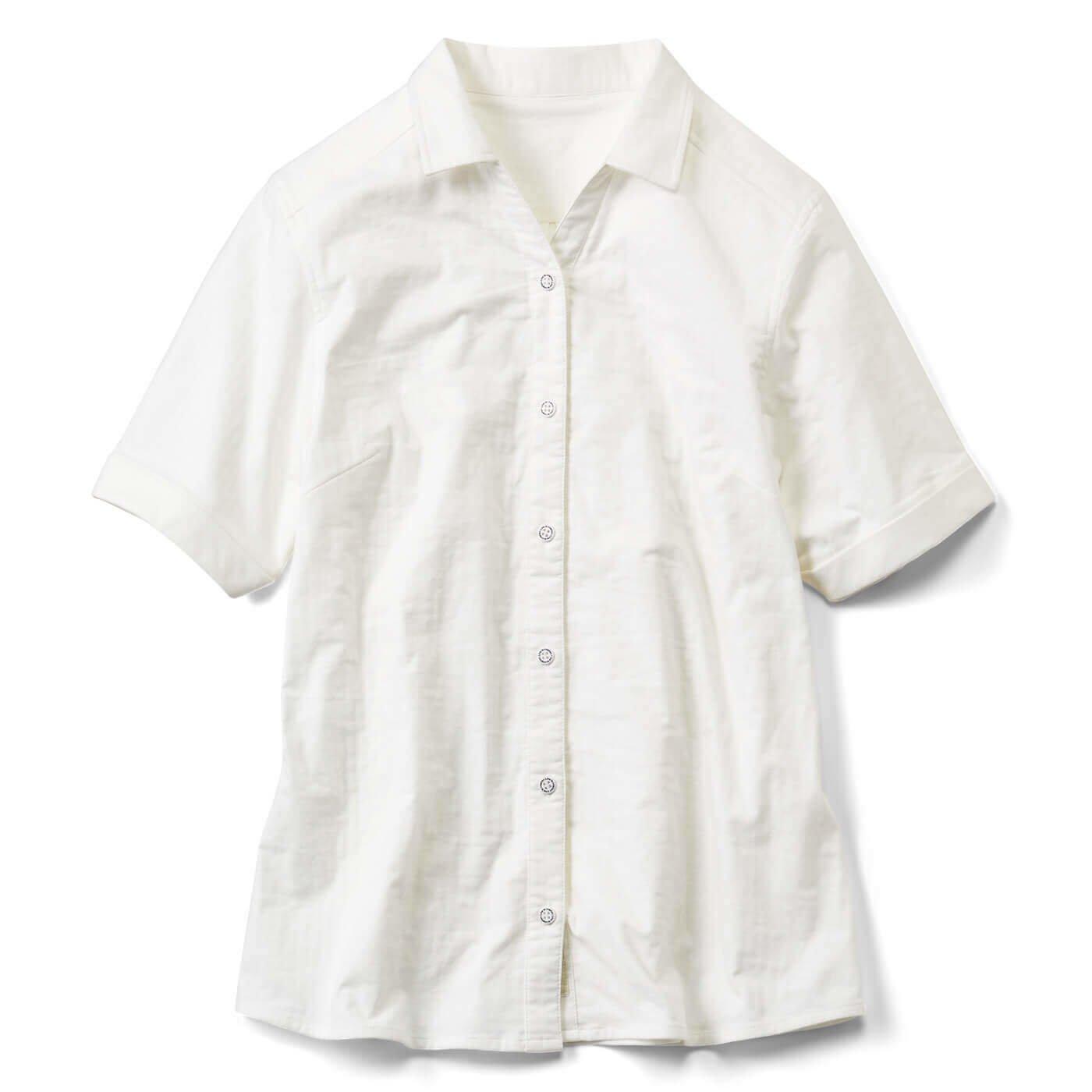 リブ イン コンフォート 肌心地やさしく伸びる! ダブルガーゼスキッパーシャツ〈オフホワイト〉
