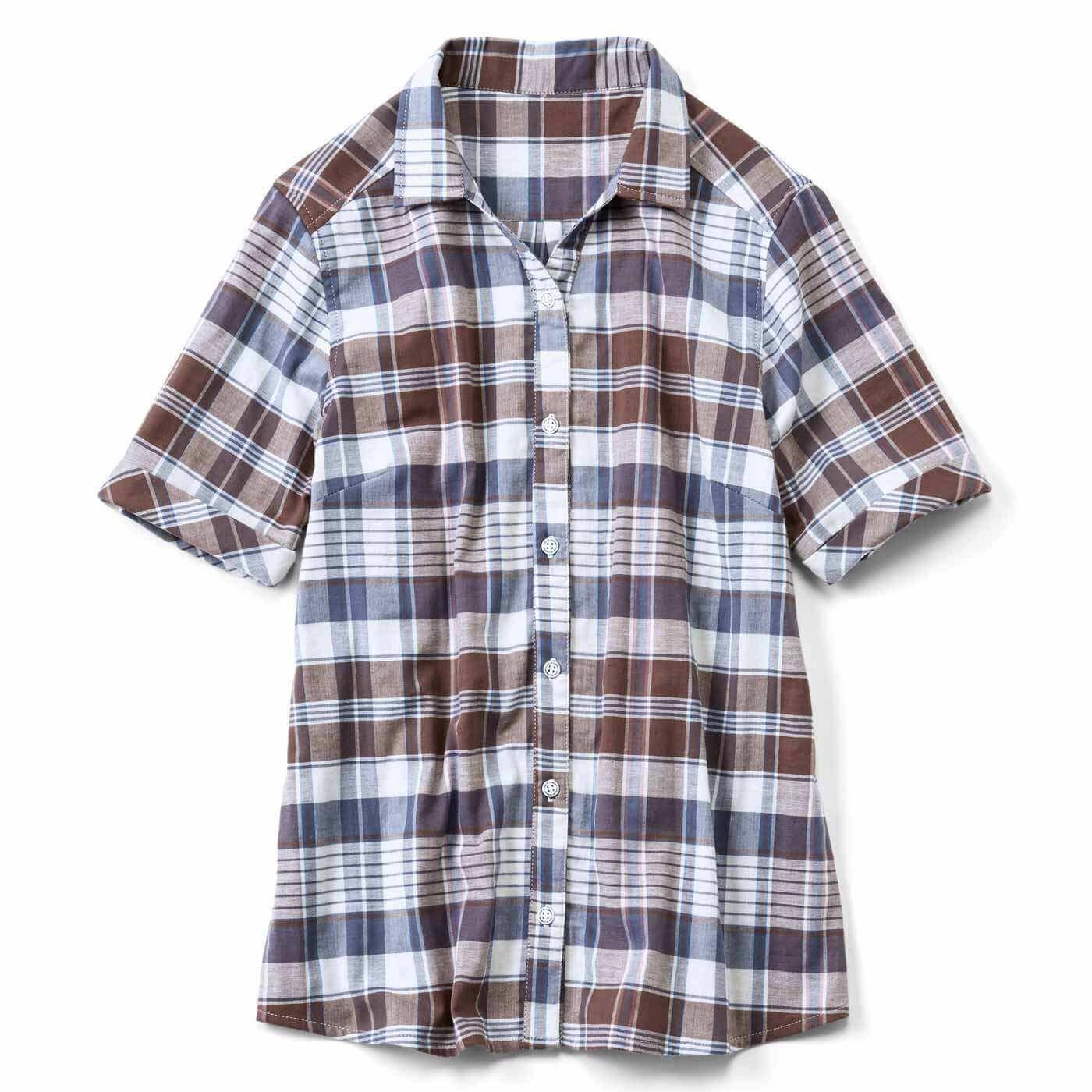 リブ イン コンフォート 肌心地やさしく伸びる! ダブルガーゼスキッパーシャツ〈ブラウンチェック〉