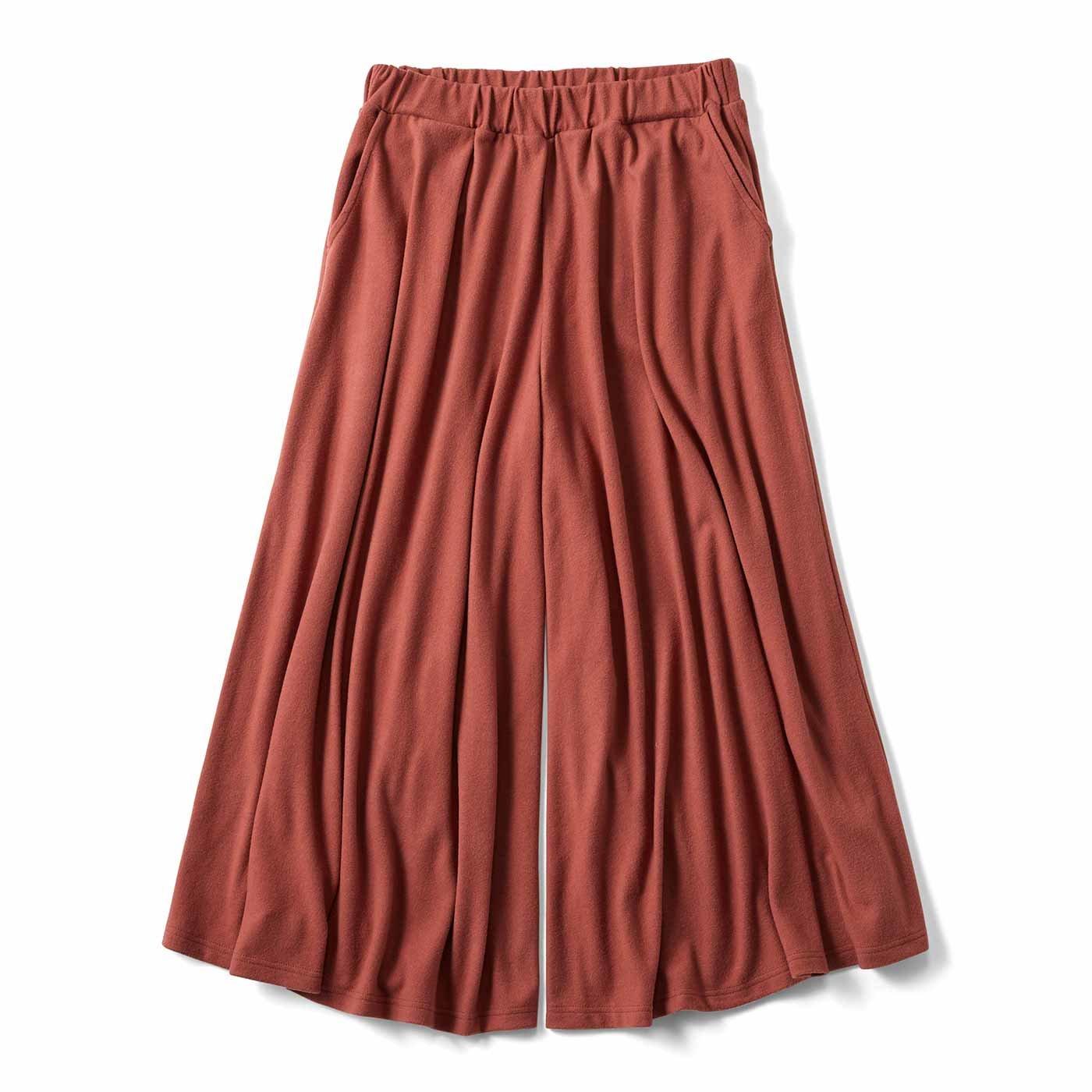 リブ イン コンフォート スカートみたいなやわらか微起毛 カットソーガウチョパンツ〈コーラルオレンジ〉