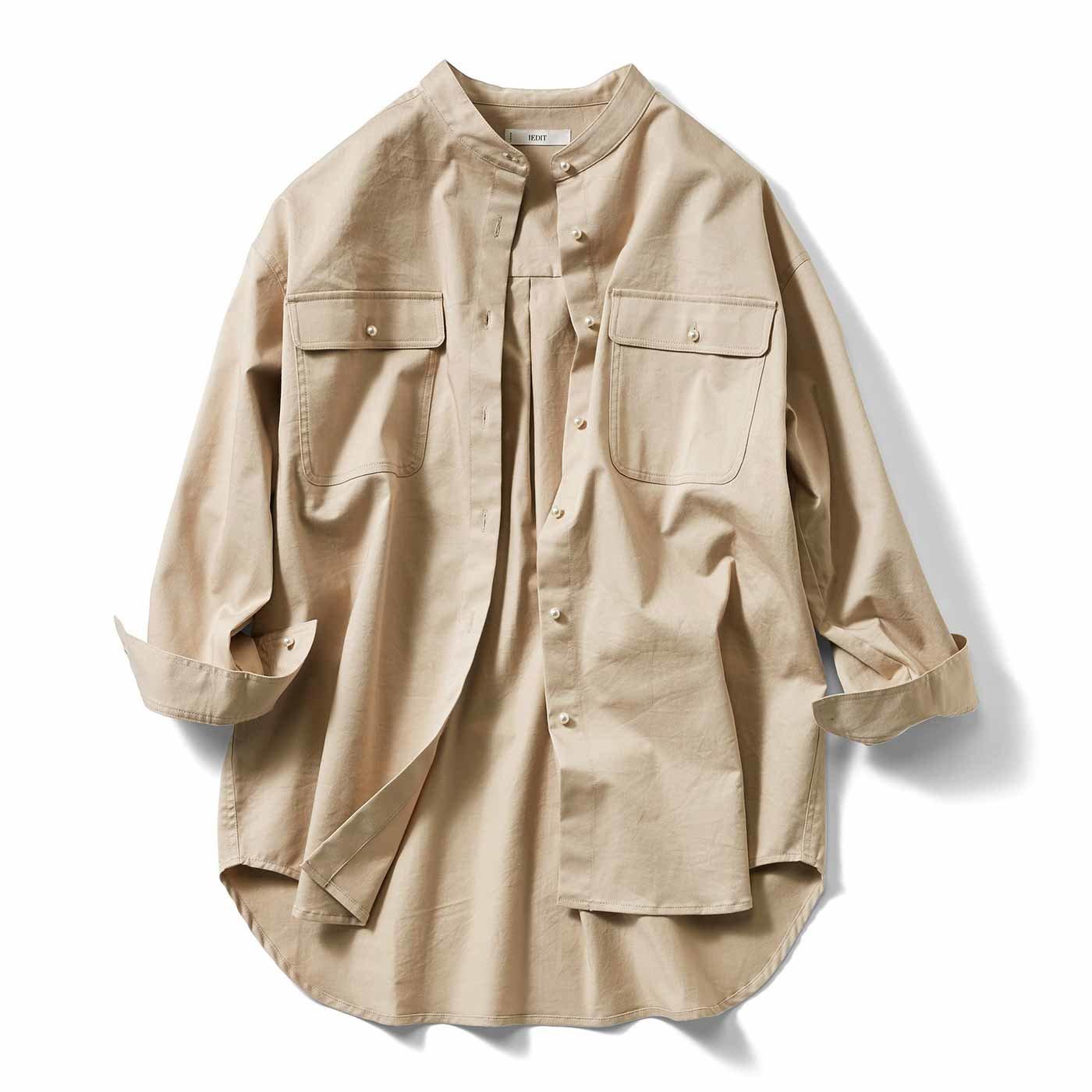 IEDIT[イディット] パール調ボタンのバンドカラービッグシャツ〈ツイルベージュ〉