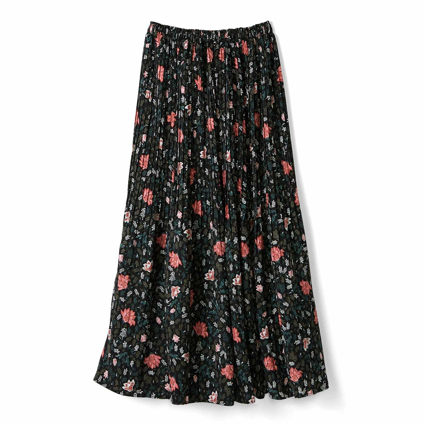 リブ イン コンフォート おとめ心がさらりと揺れる 華やか細プリーツスカート〈花柄ブラック〉