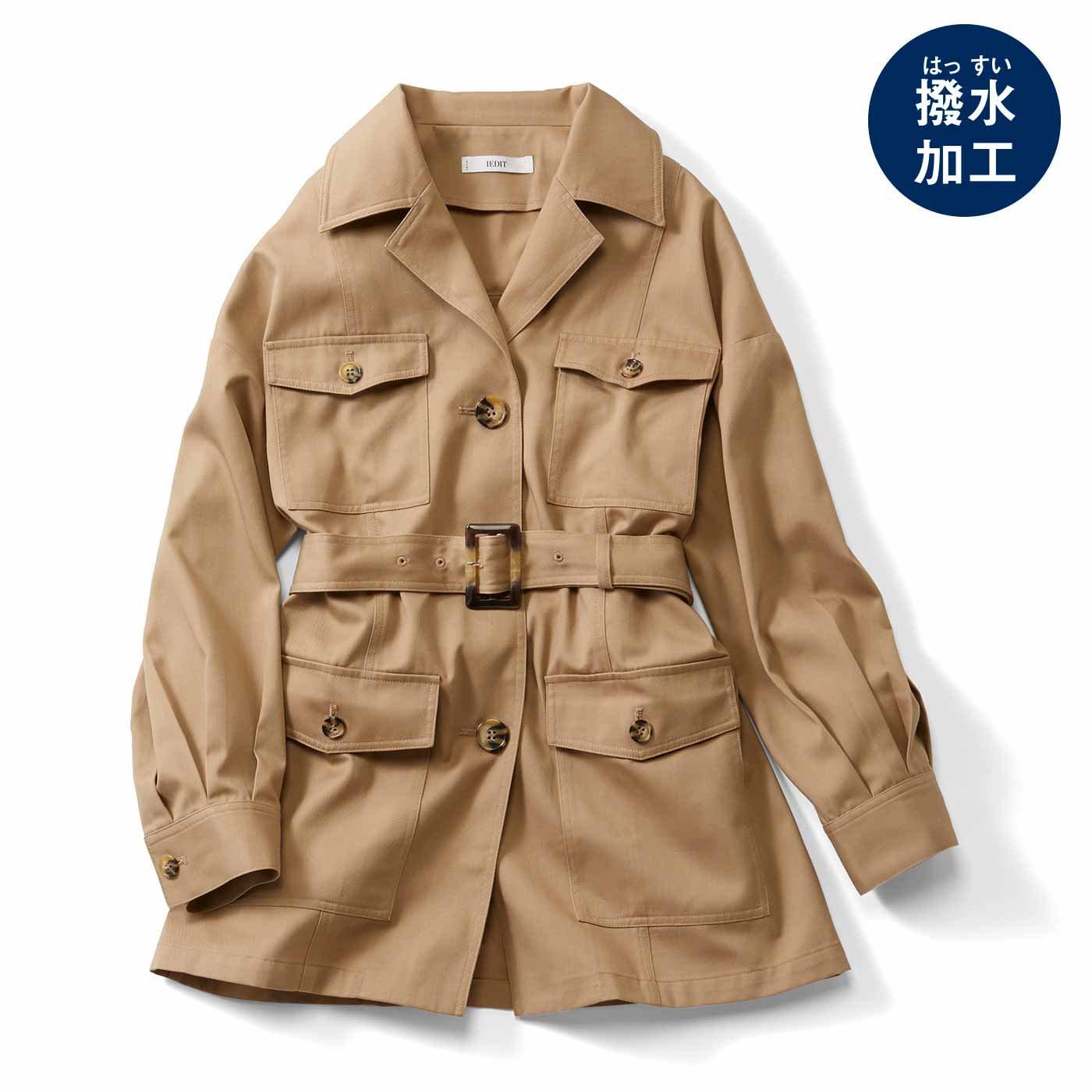 IEDIT[イディット] きれいめスタイルにも似合う ベルト付きCPOジャケット〈ベージュ〉