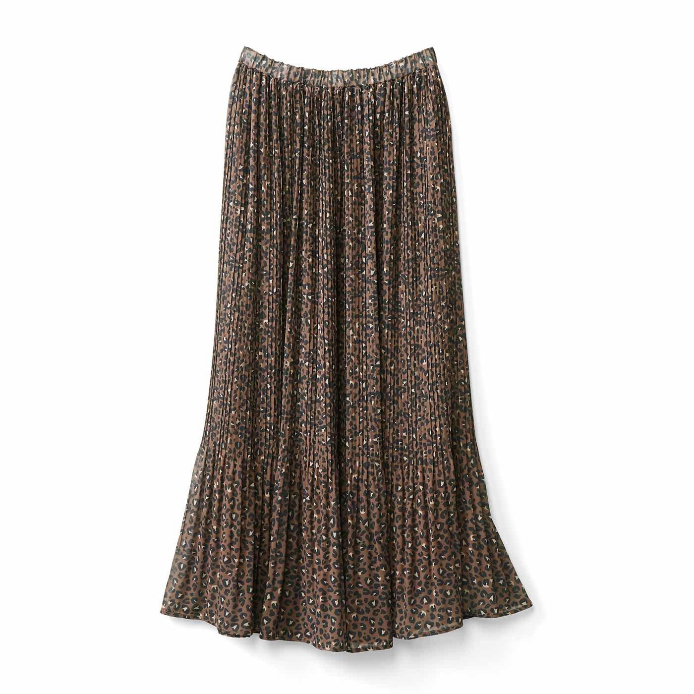 IEDIT[イディット] アニマルプリントの消しプリーツスカート〈ブラウンレオパード〉