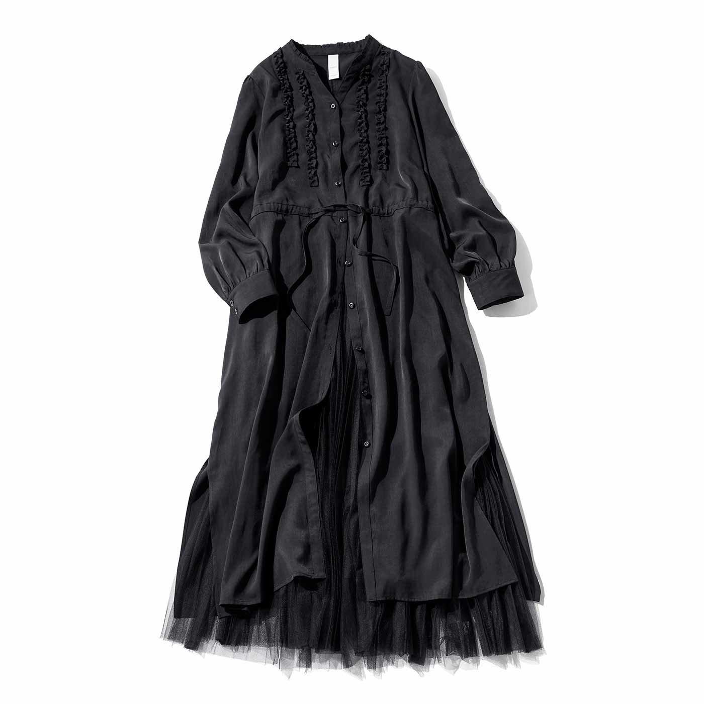 IEDIT[イディット] フェミニンスタイルが完成する オールブラックワンピース&スカートセット〈ブラック〉