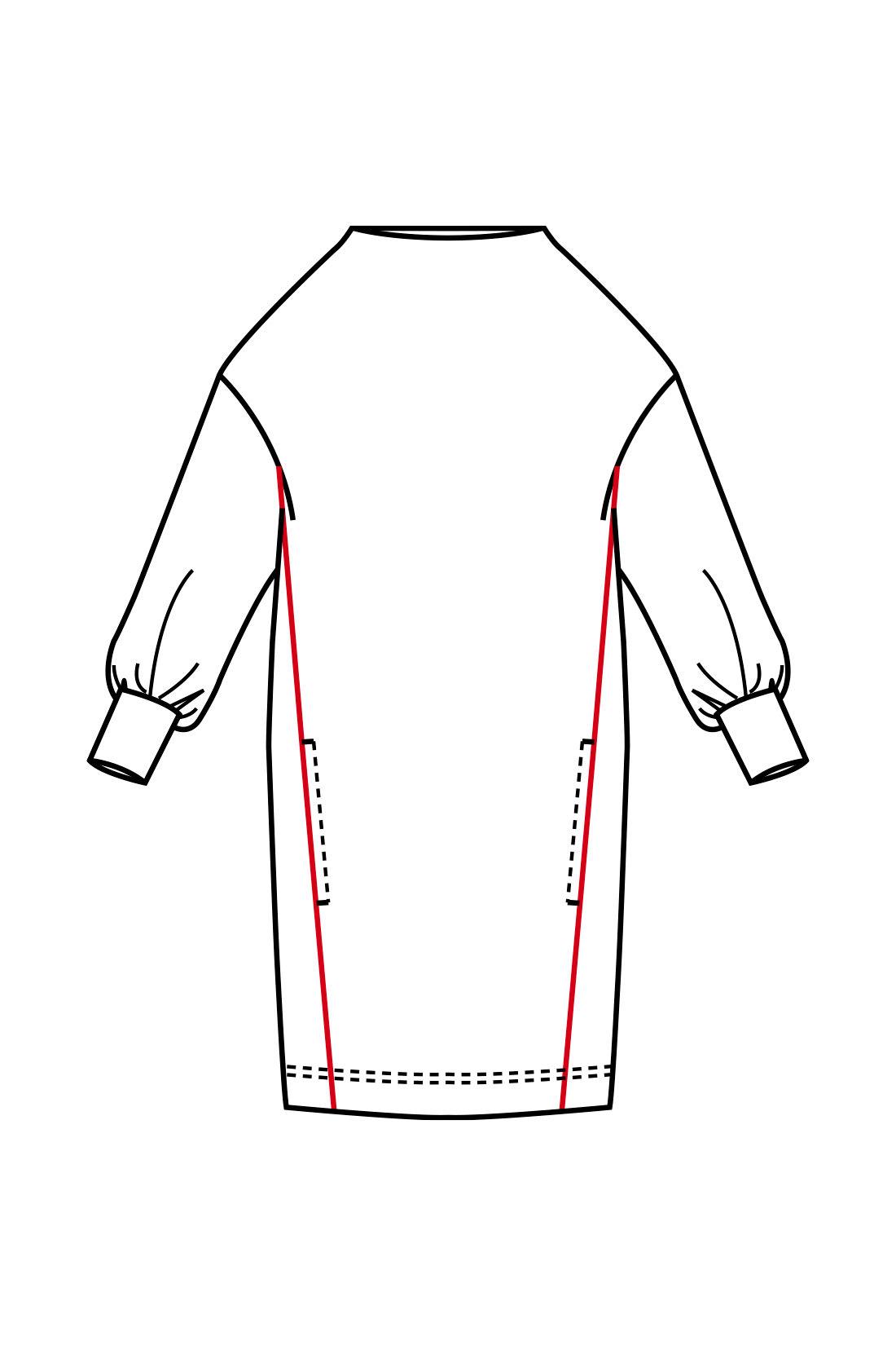 前身ごろに斜めに入れたラインの視覚効果でからだをすっきり演出。