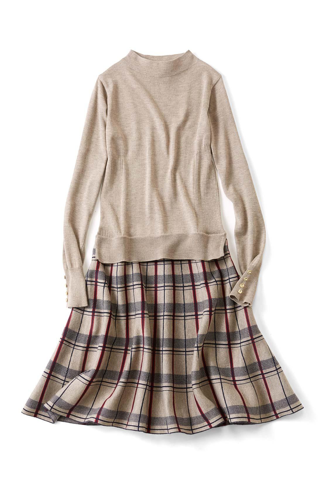 上品でベーシックな〈ベージュ〉 スカートは一枚仕立てで、ふんわり360°広がる美シルエット。サイドはリブですっきり見せ効果も。