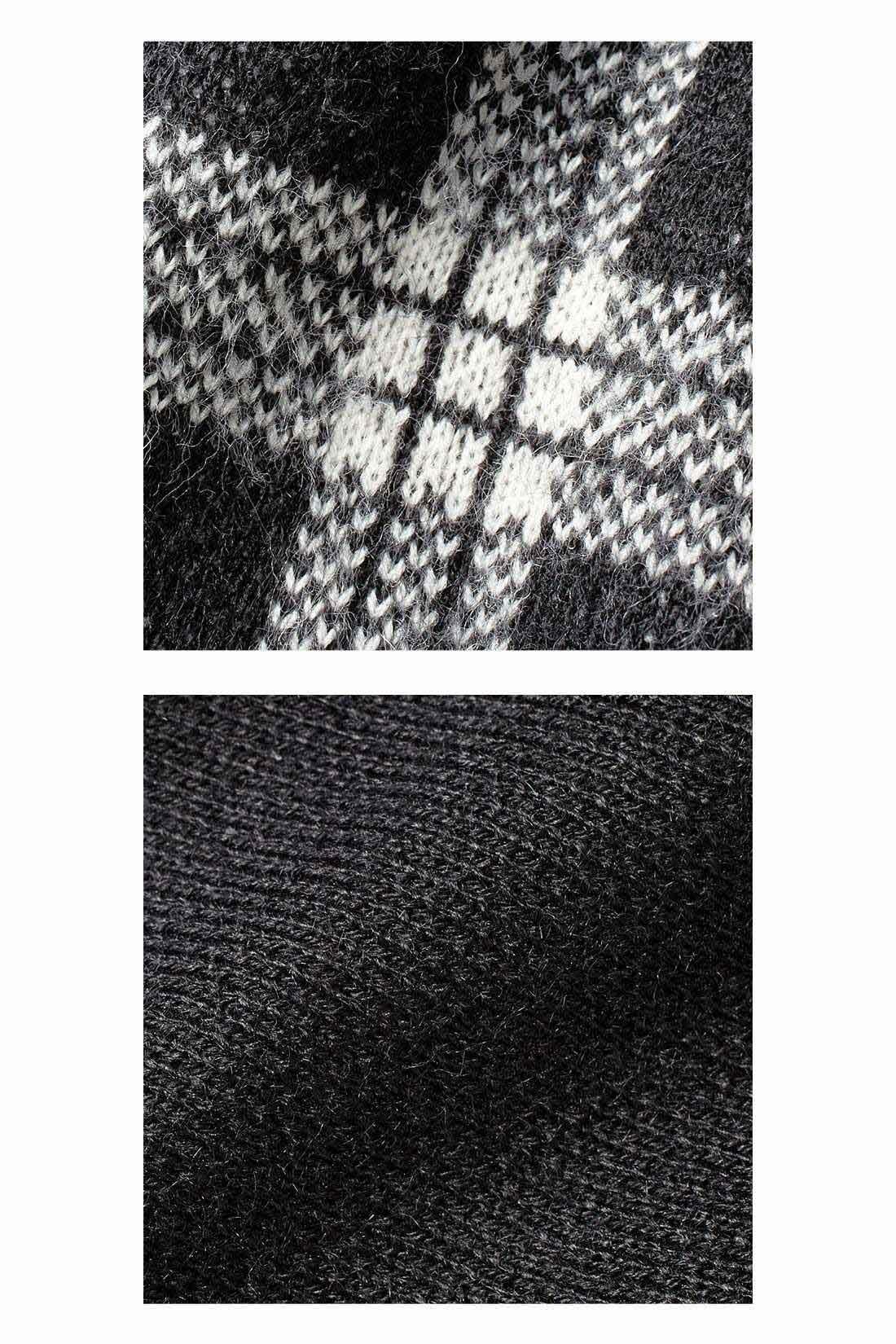 暖かく伸びやかならくちんニット トップスの柄部分は起毛をかけたふんわり仕上げ。袖と背中は天じく編みで上品に。ダブルジャカードのニットのフレアースカートは、ヒップラインを拾わないほどよい厚みでシルエットがきれい。 ※お届けするカラーとは異なります。