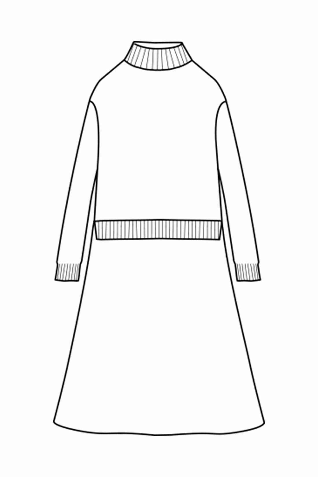 ハイネック+ミモレ丈 暖かくトレンド感ある衿もと。コンパクトでほどよく抜け感もあるドロップショルダーのトップスに、甘すぎない大人のフレアーが印象的なひざ下丈のスカートをドッキング。