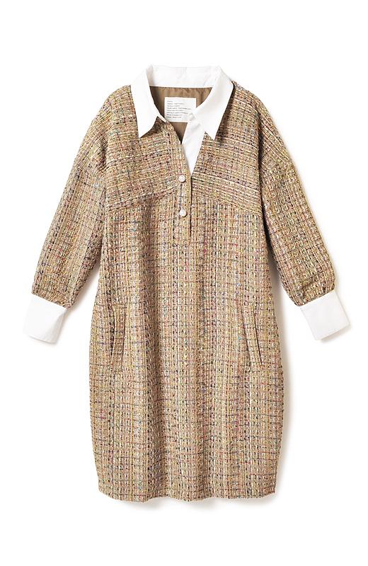 ピリッと引きしめてくれる白のシャツ地と、いろんな色の糸を織り交ぜた表情豊かなツイードの組み合わせ。