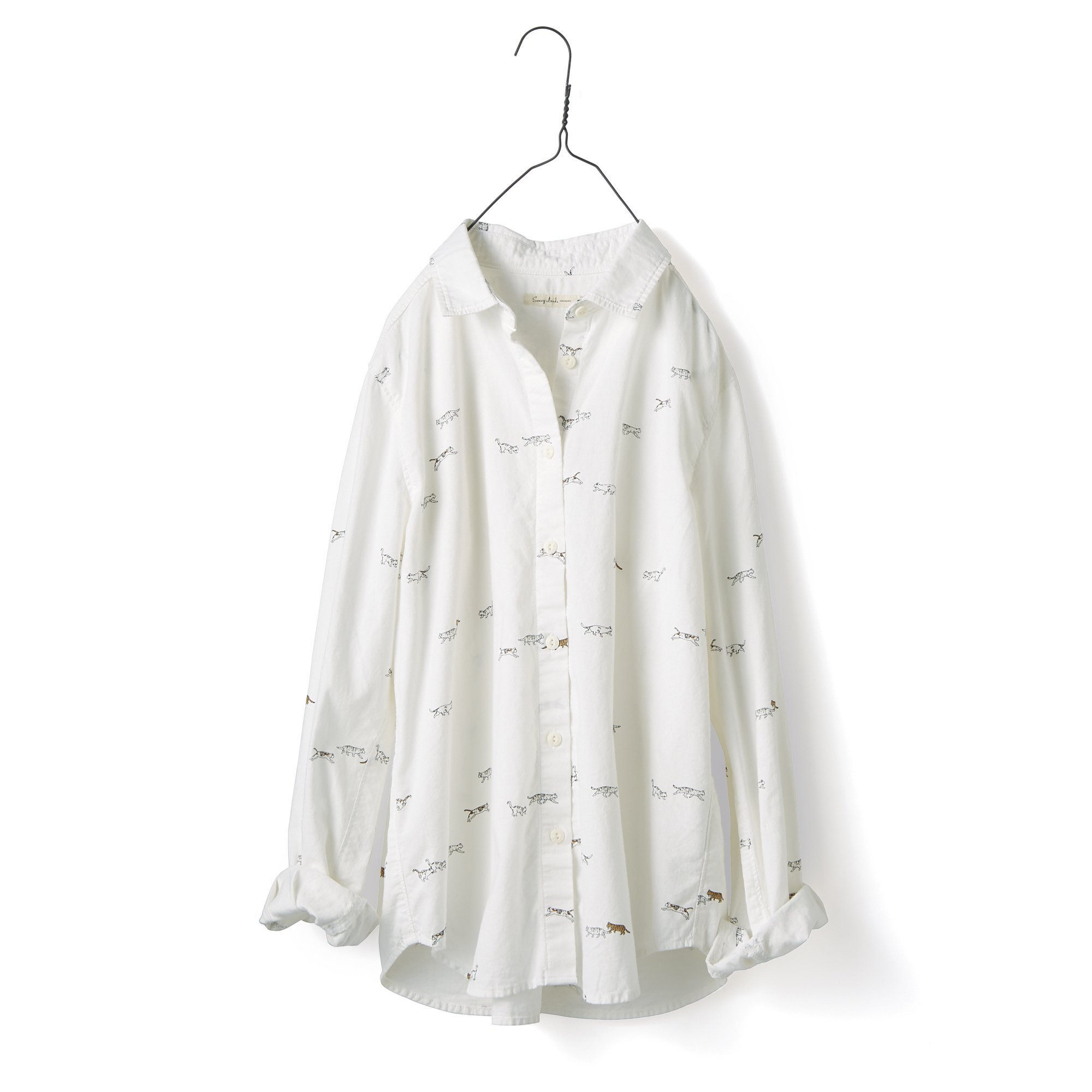 サニークラウズ feat. 猫部 やっぱり猫が好きシャツ〈レディース〉ホワイト