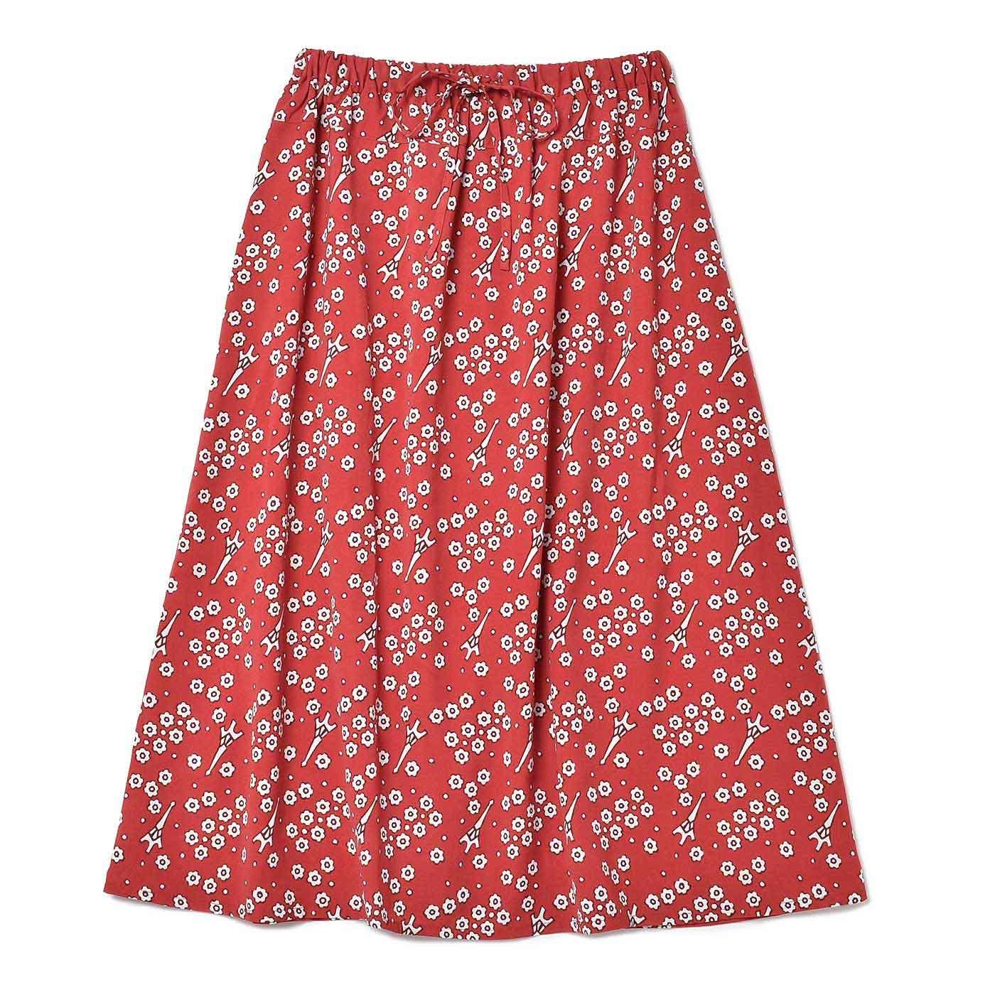 IEDITプレミアムコレクション こっそりモチーフプリントがかわいいミディアムスカート〈レッド×ホワイト〉