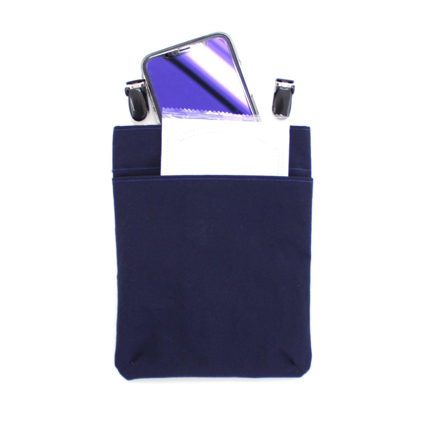【WEB限定】IEDIT[イディット] バッグやボトムスのウエスト部分にクリップでパチンとつりさげればポケットになる マスクやスマホやハンカチなどが入れられるとっても便利なポーチ〈ネイビー〉