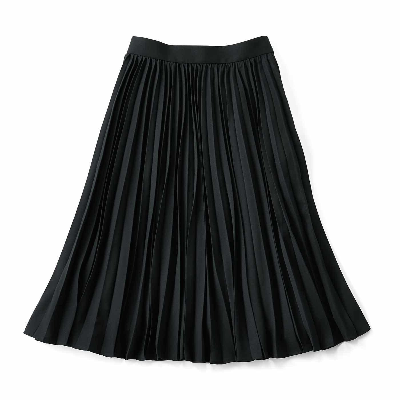 IEDIT[イディット]   軽やかな印象のアコーディオンプリーツスカート〈ブラック〉