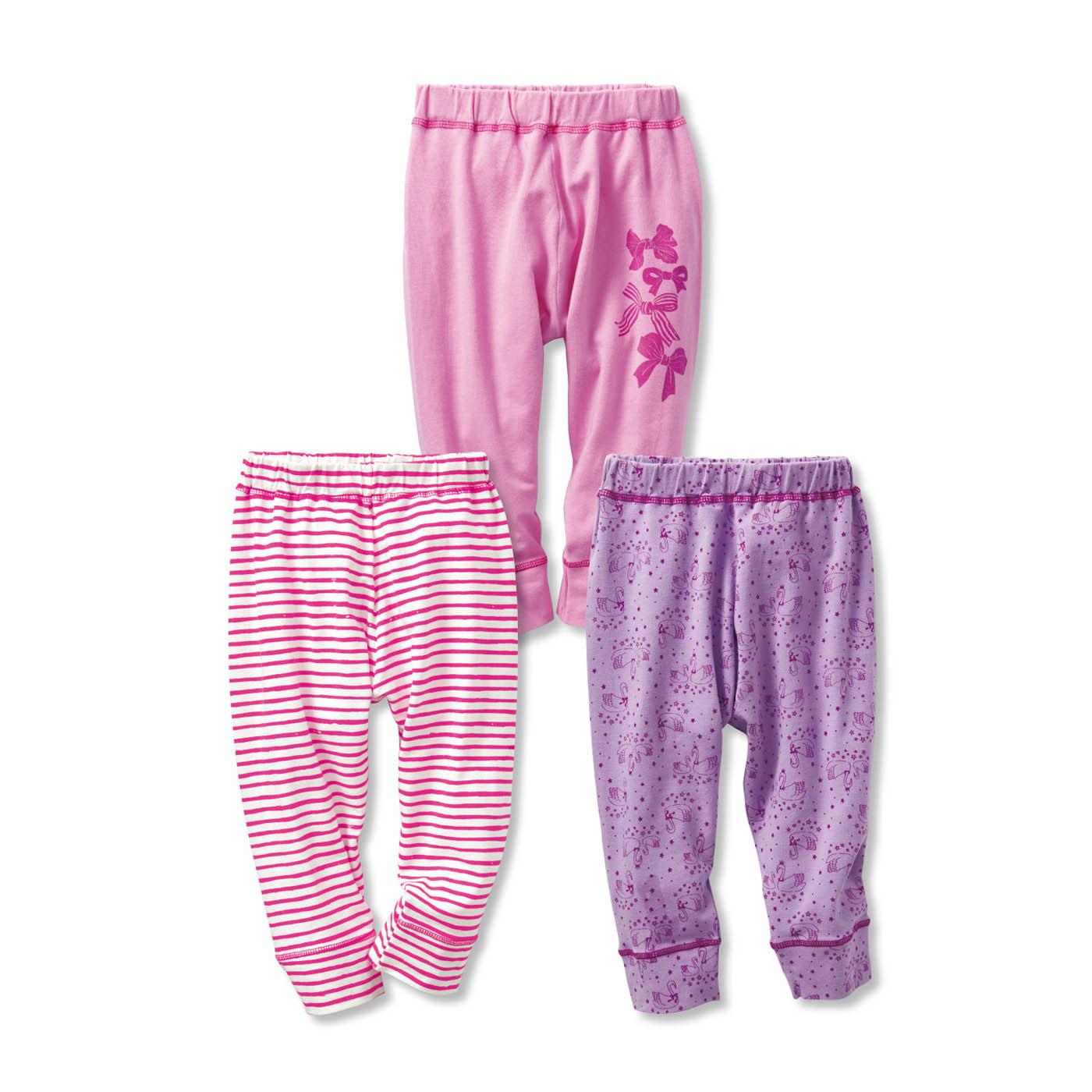 毎日着たくなる のびのび七分丈パンツ3枚セット〈ガールズ〉〈ピンク×ホワイト×パープル〉