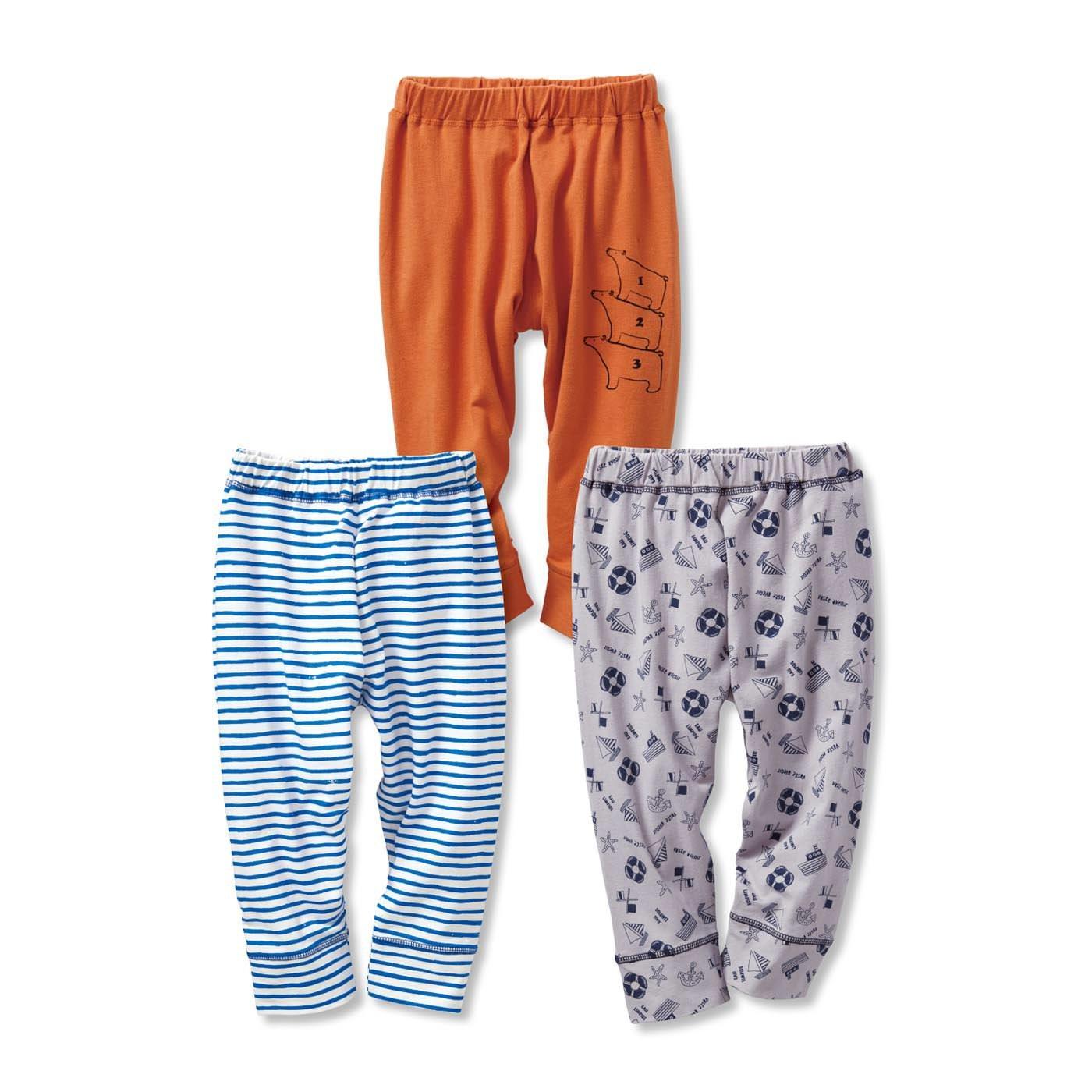 毎日着たくなる のびのび七分丈パンツ3枚セット〈キッズ〉〈オレンジ×グレー×ブルー〉