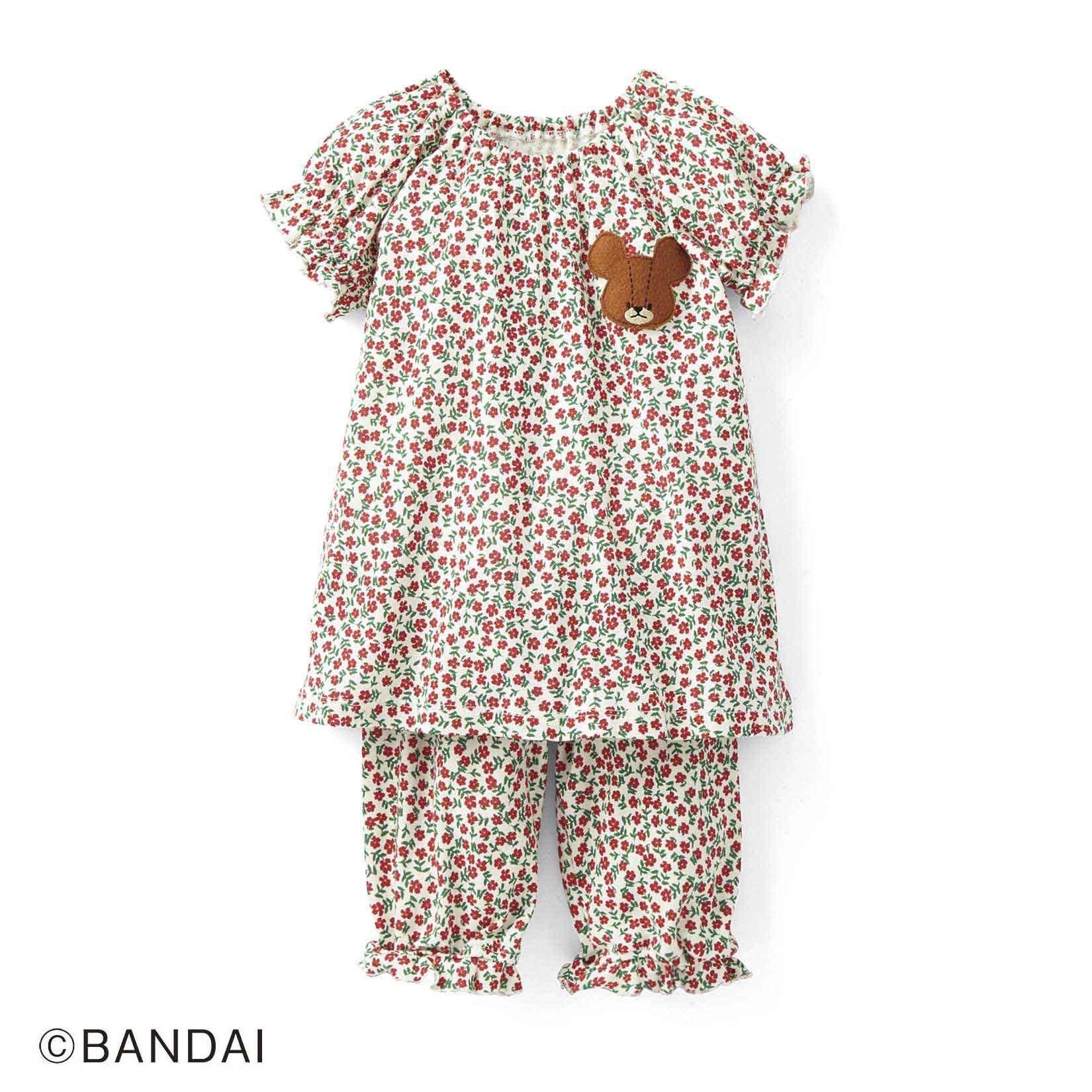 くまのがっこう お花畑でおやすみなさい☆ はらまき付きガールズパジャマ〈レッド×グリーン〉