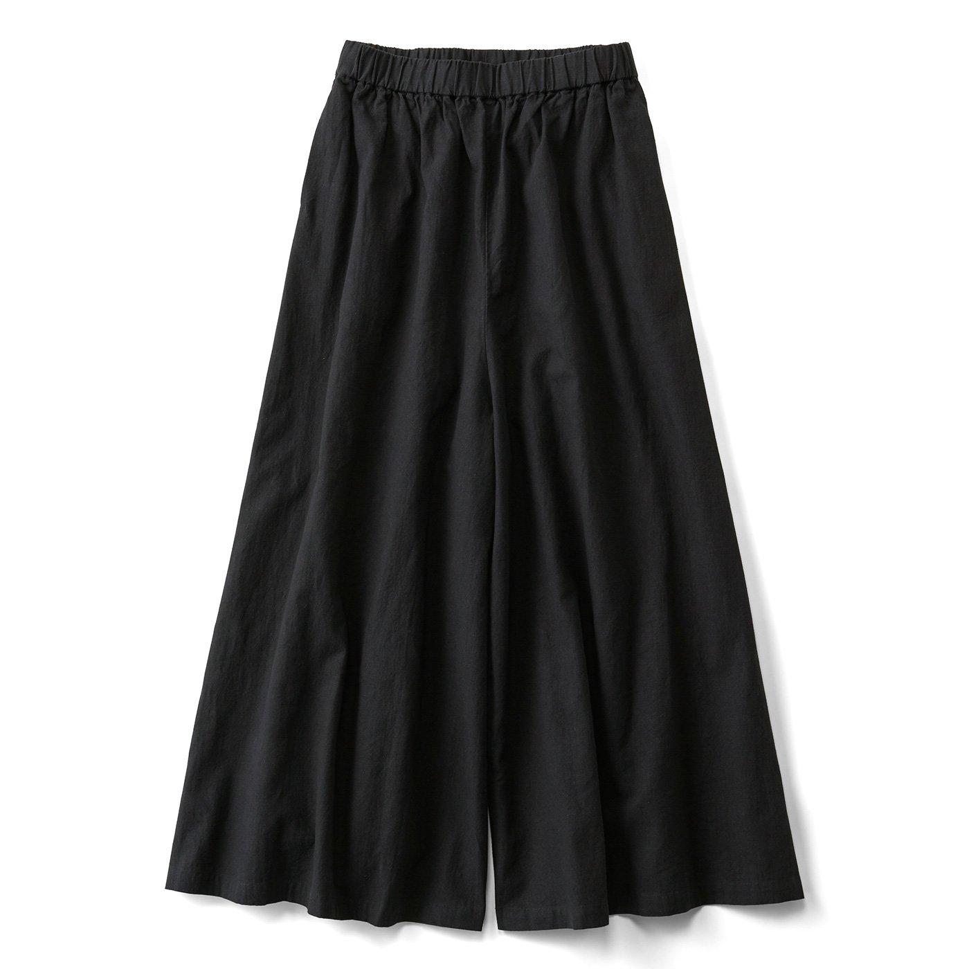 THREE FIFTY STANDARD スカートみたいな麻混ワイドパンツ〈黒〉