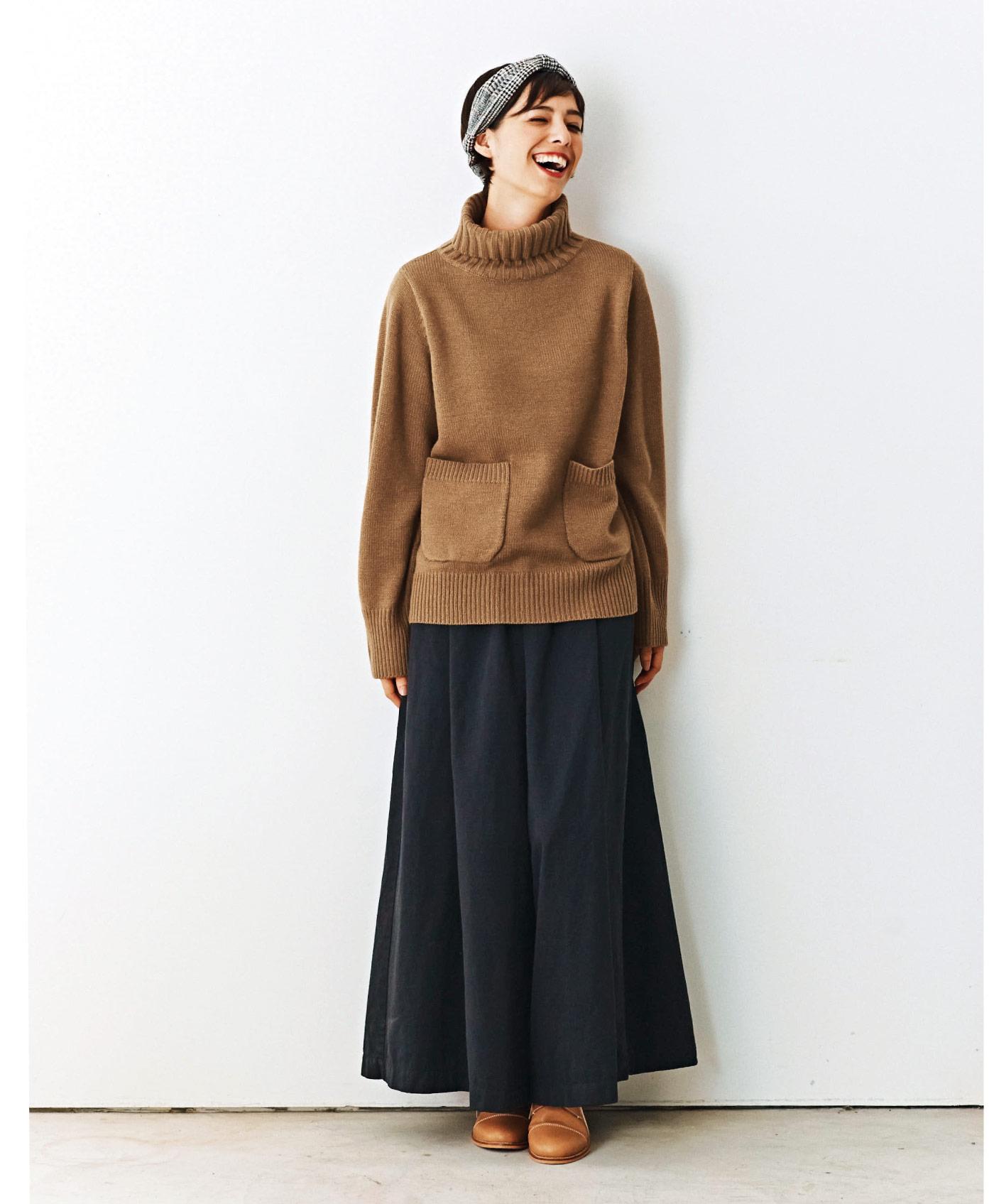 and myera ロングスカートみたいなキュロパン〈黒〉