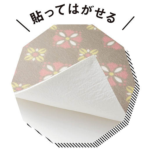 裏面は貼ってはがせる吸着素材でぴったりフィット。表面は素足にもふんわり気持ちいい不織布素材。