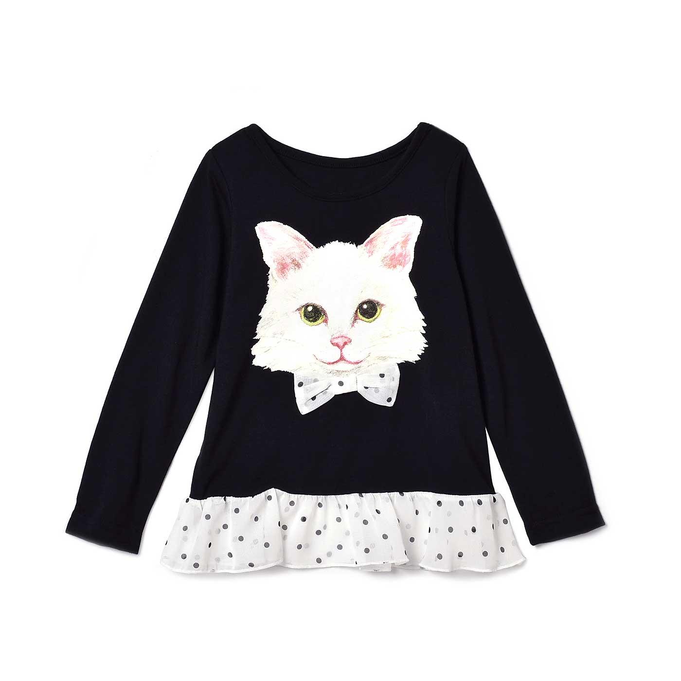 フェリシモキッズ×猫好き目線でつくった にゃんともおしゃれな長袖トップス〈ガールズ〉〈ブラック×ホワイト〉