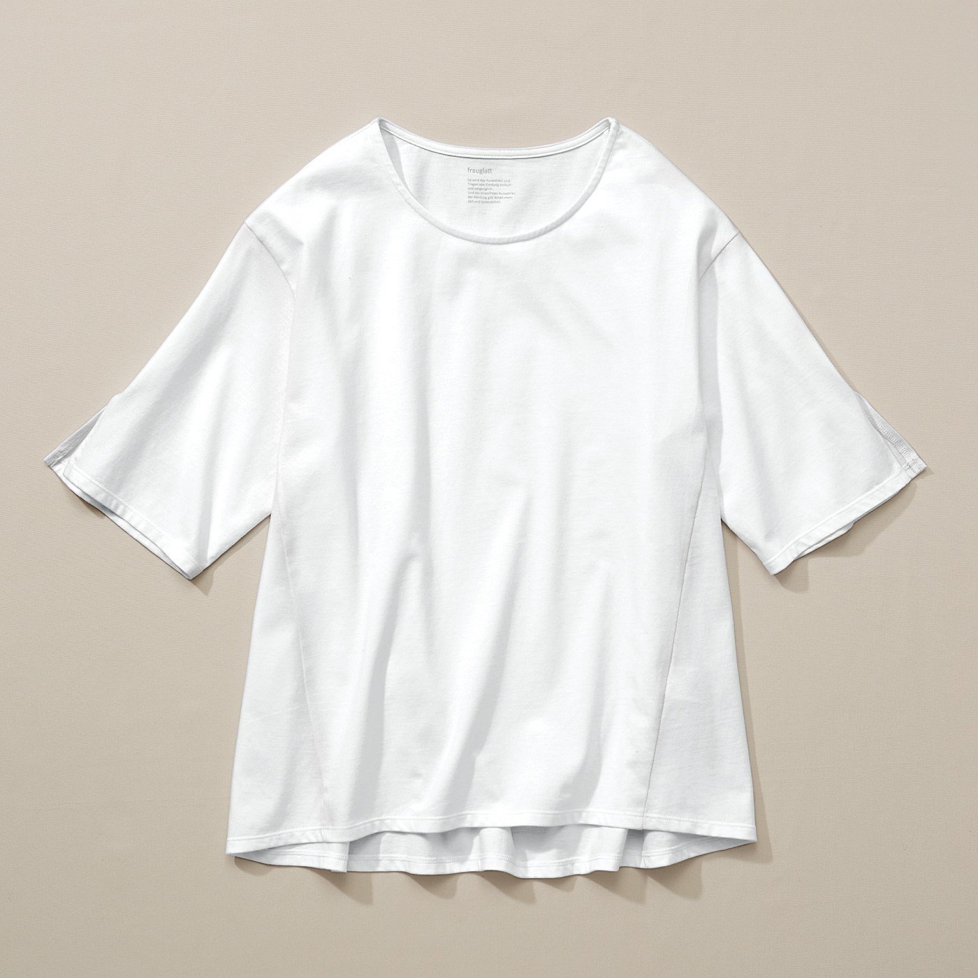 フラウグラット 一枚でさまになる♪ きれいめ綿100% 涼し袖白Tトップス〈抗菌防臭〉 の会