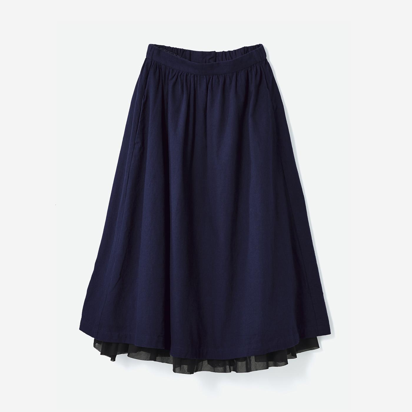 avecmoi フリルペチコート付きスカート〈ダークネイビー〉