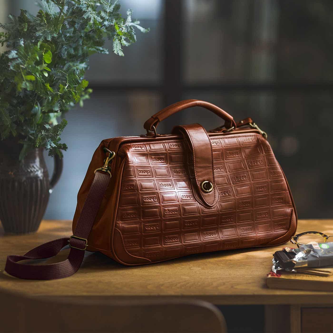 チョコ型押しで誂(あつら)えた 本革ダレスバッグ〈カカオブラウン〉[本革 鞄:日本製]