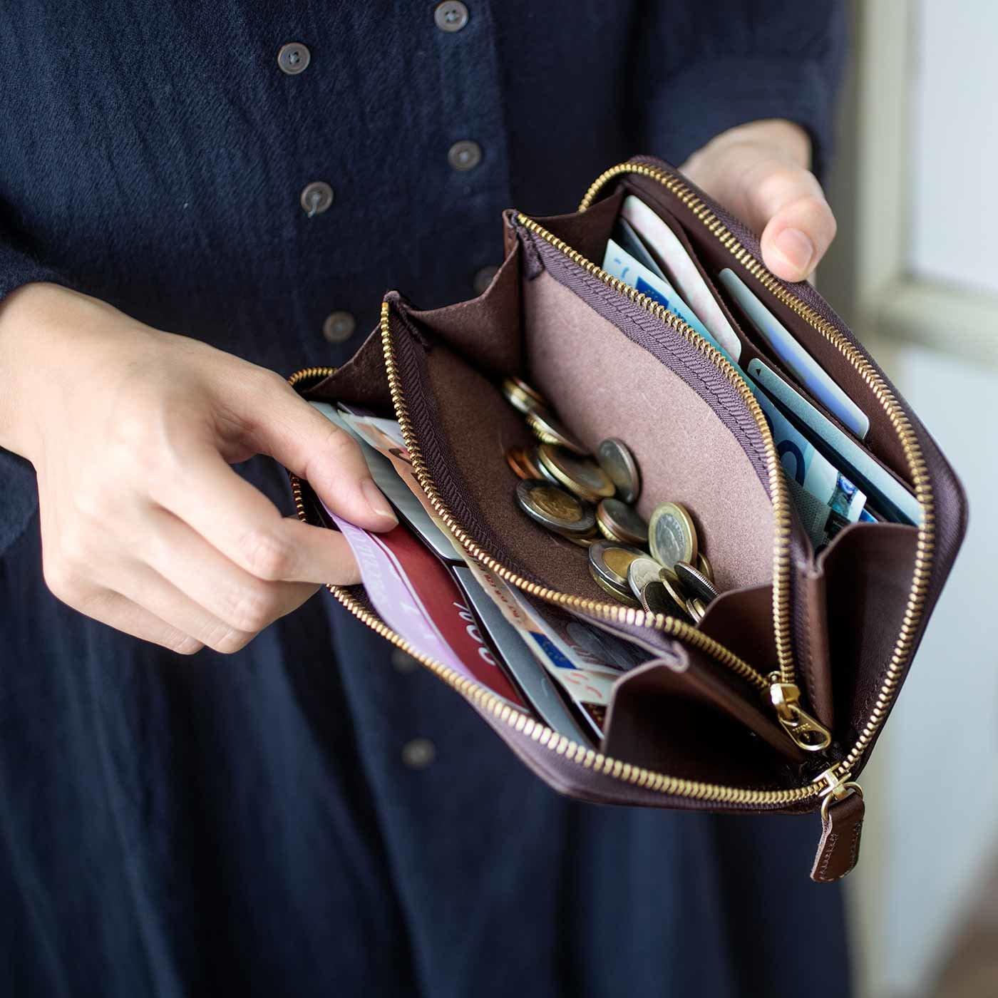 鞄(かばん)作家と作った 本革ラウンドジップ長財布〈ダークブラウン〉[本革 財布:日本製]