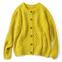 フェリシモ リブ イン コンフォート ふっくらもこもこ編み地がかわいい フィッシャーマン風ニットカーディガン〈マスタードイエロー〉