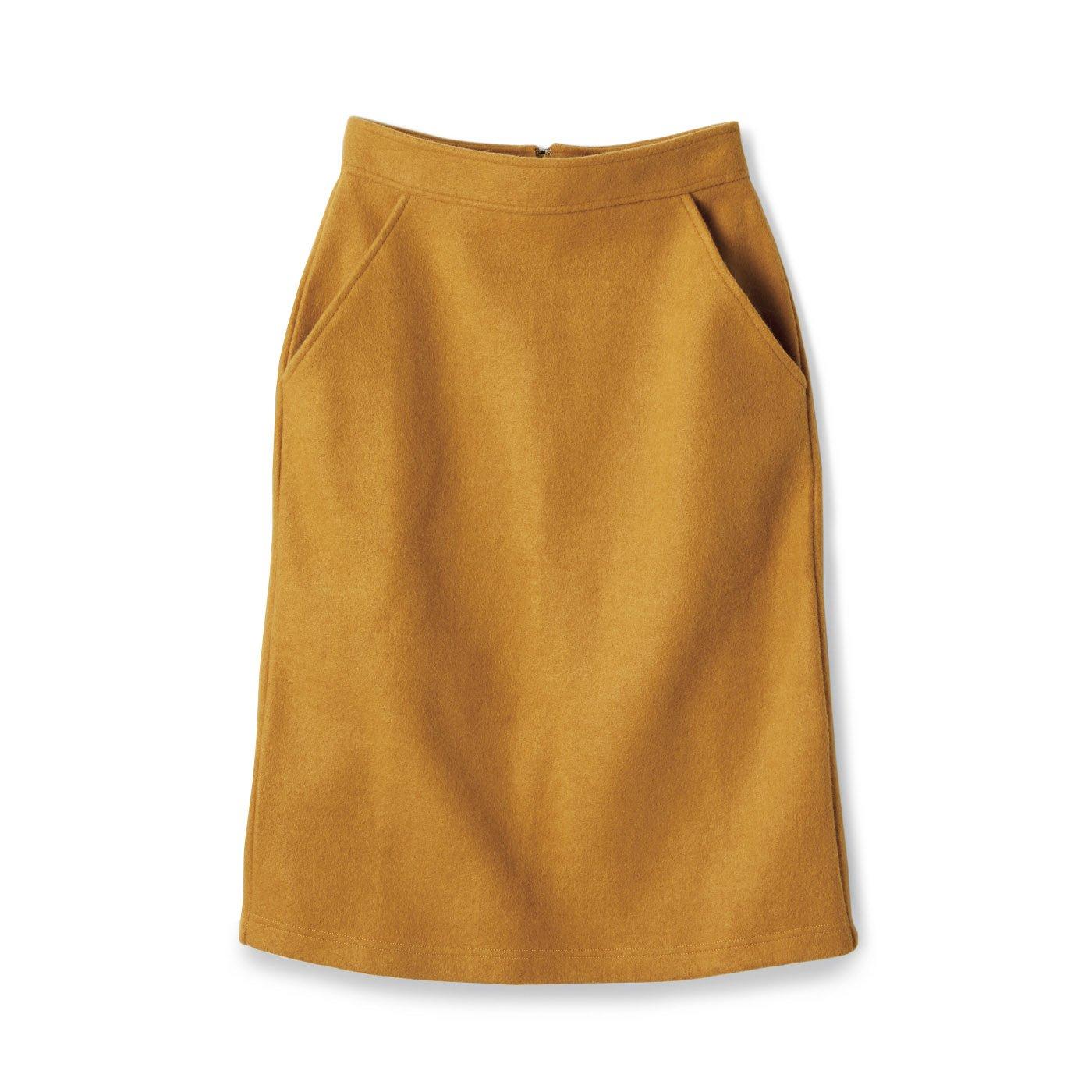サニークラウズ 縮絨風味のスカート〈レディース〉山吹