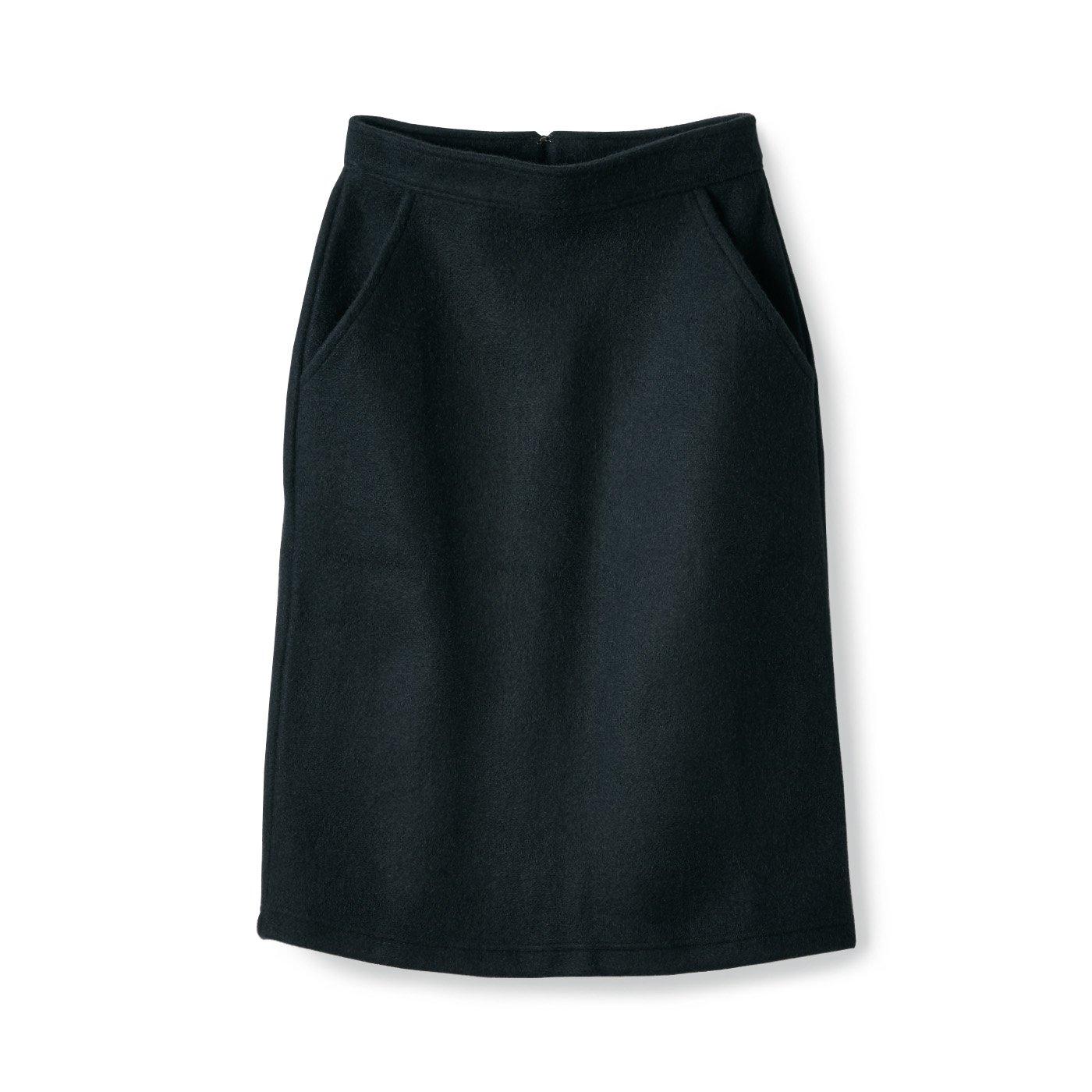 サニークラウズ 縮絨風味のスカート〈レディース〉黒