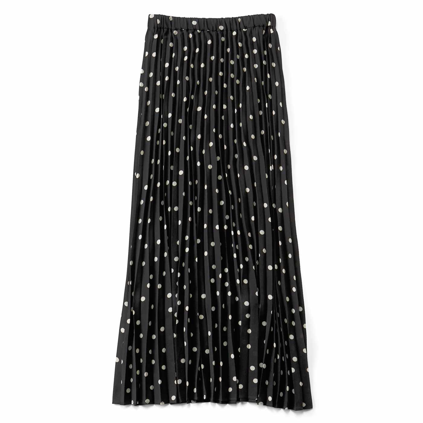 Aラインシルエットがキレイなプリーツスカート〈黒ドット〉
