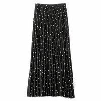 <フェリシモ>Aラインシルエットがキレイなプリーツスカート〈黒ドット〉【送料無料】