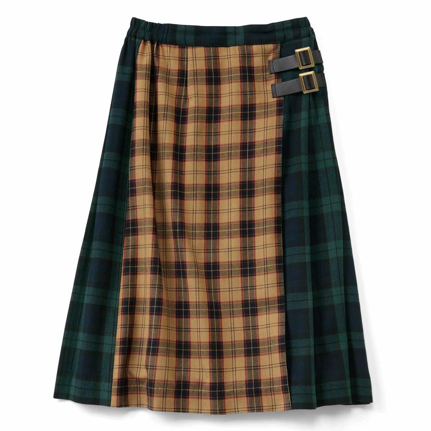 配色チェックのプリーツスカート