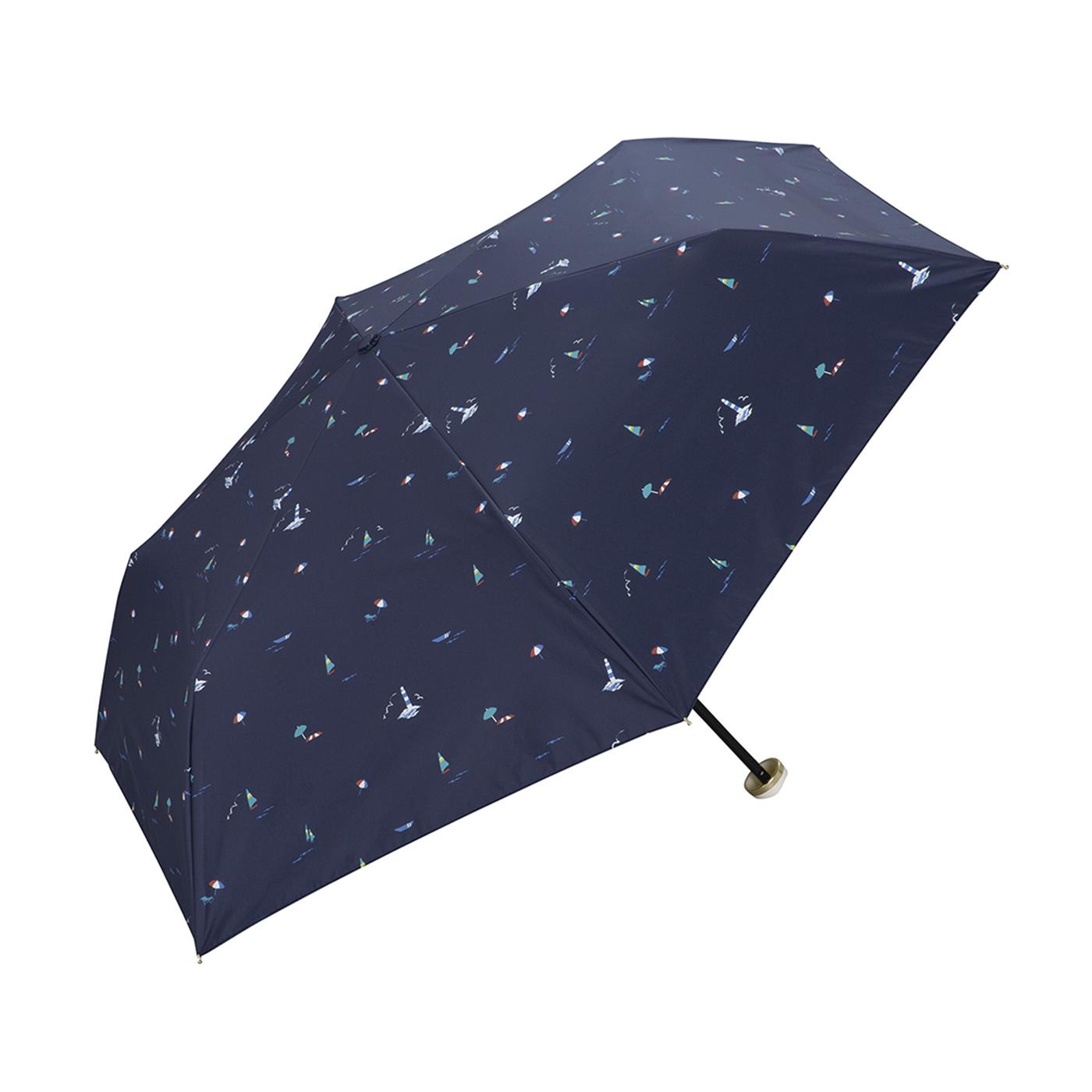 フェリシモ リブ イン コンフォート ポーチ付きがうれしい ビーチ柄の晴雨兼用折りたたみ傘<ネイビー>