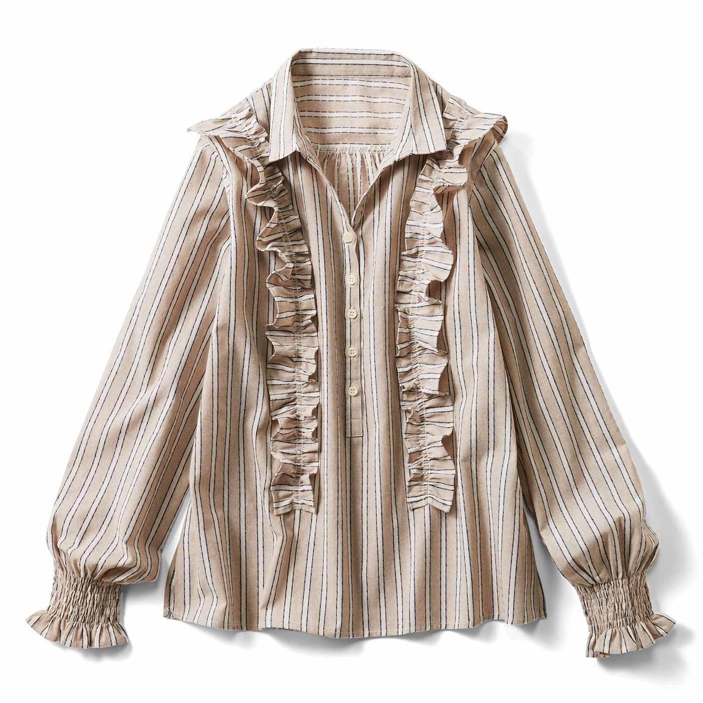 リブ イン コンフォート 先染め織り柄の 華やかプルオーバーブラウス〈ベージュストライプ〉