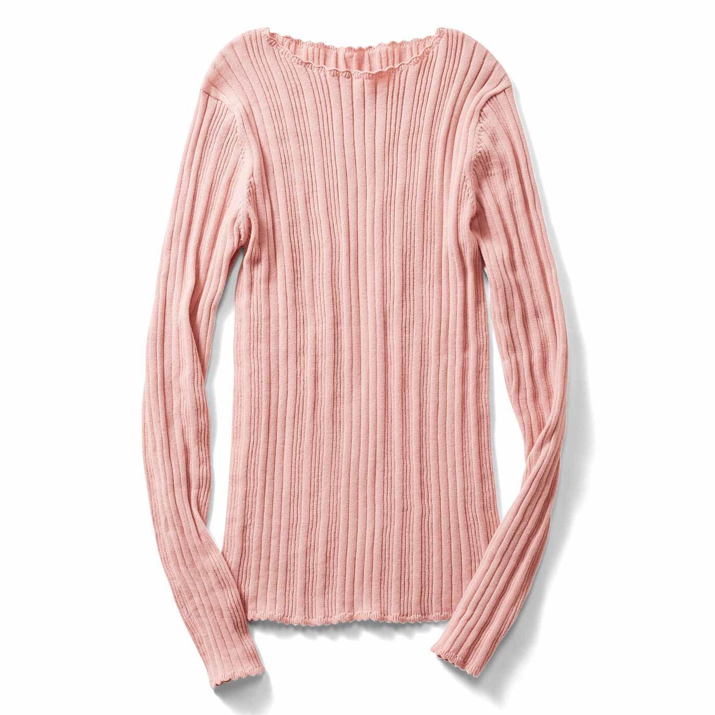 【3~10日でお届け】IEDIT[イディット] ランダムリブが華奢見えをかなえる ピコ付きコットンニット〈ピンク〉