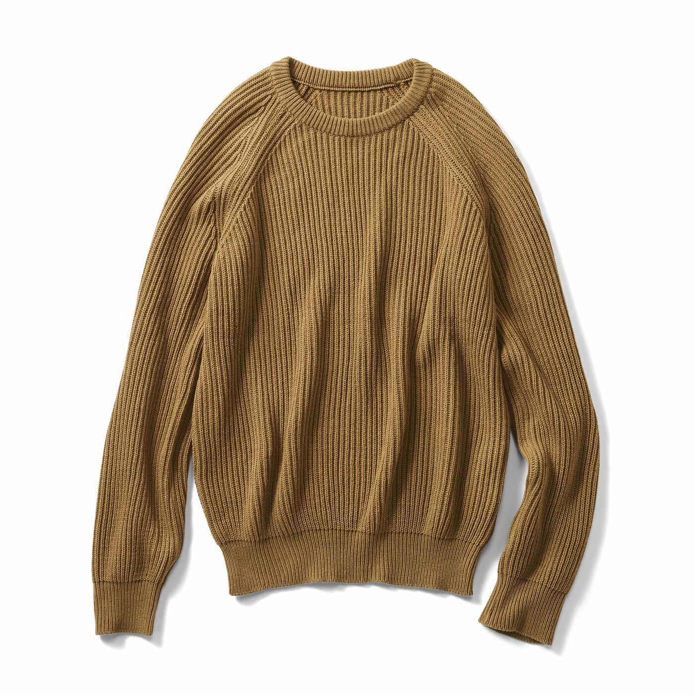 THREE FIFTY STANDARD 畦(あぜ)編みのざっくりニットセーター〈キャメル〉
