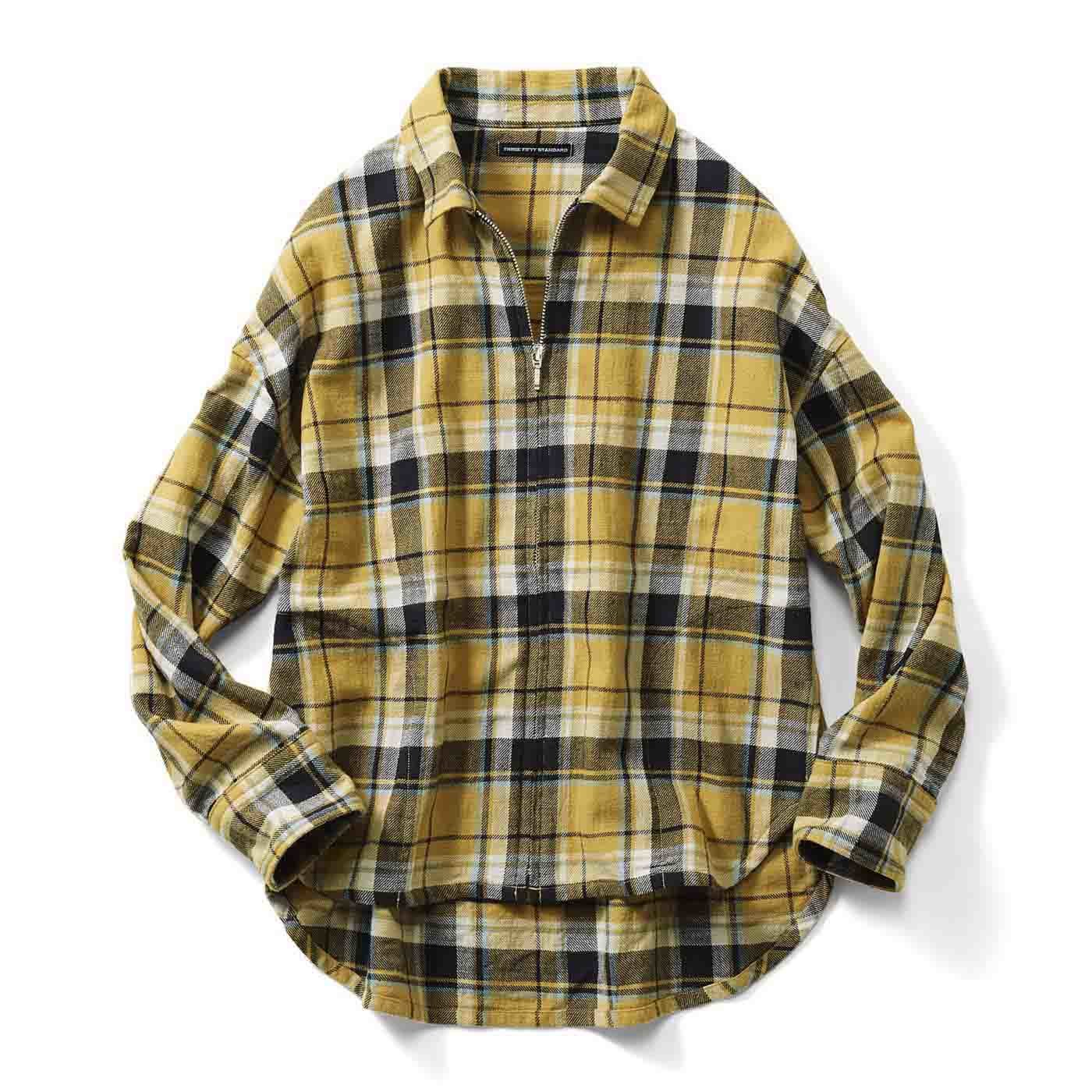 THREE FIFTY STANDARD 古着みたいなチェックのジップアップシャツジャケット